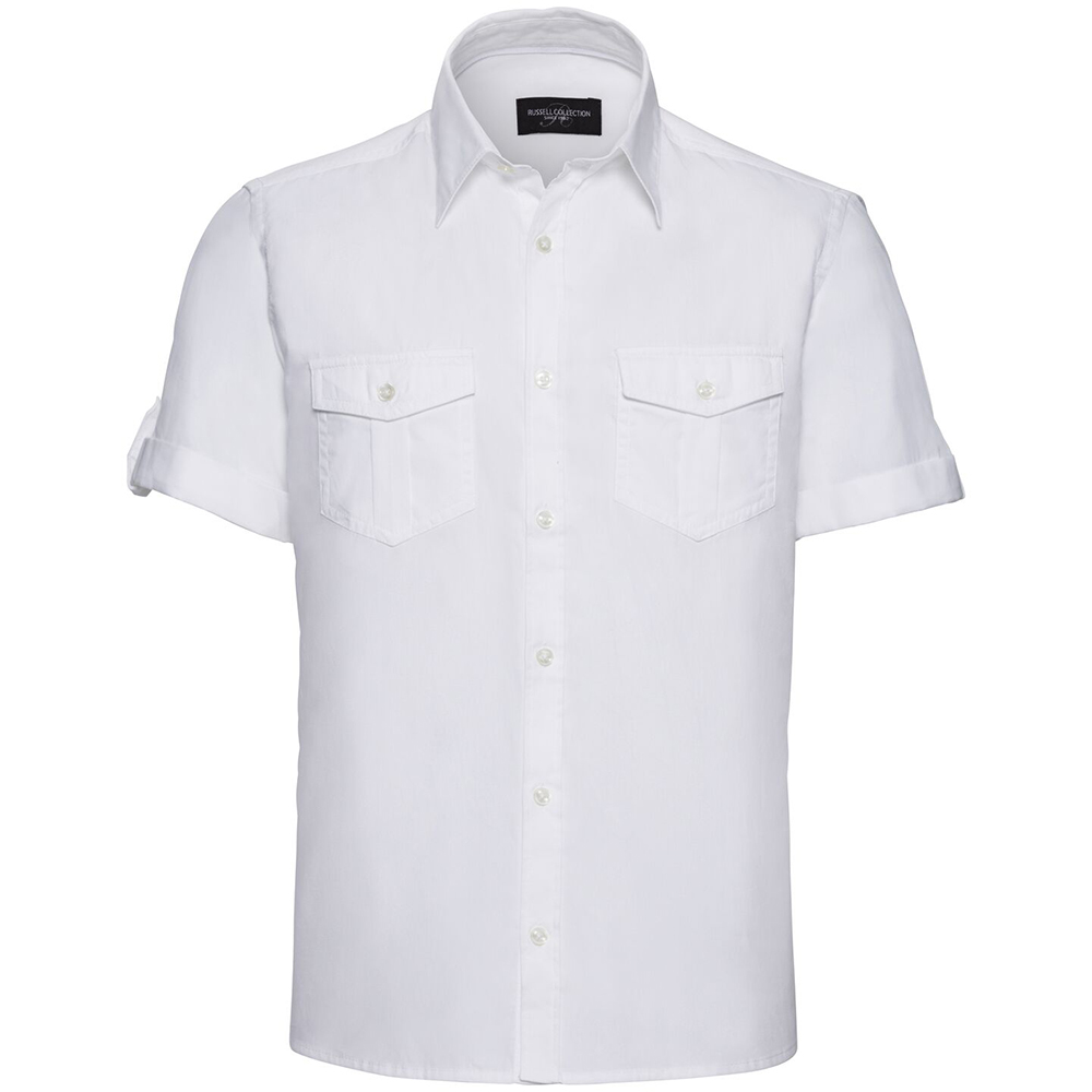 Russell Collection Mens Short / Roll-Sleeve Work Shirt (3XL) (White)