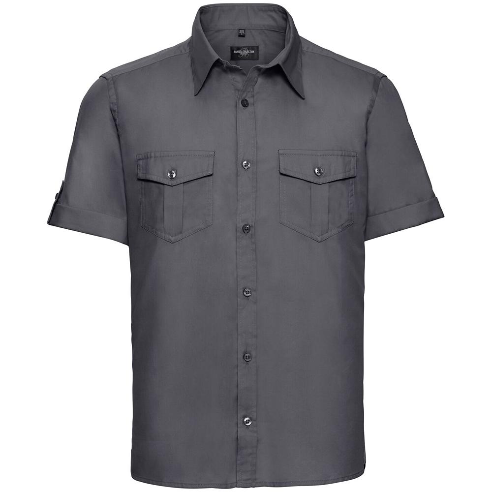 Russell Collection Mens Short / Roll-Sleeve Work Shirt (4XL) (Zinc)
