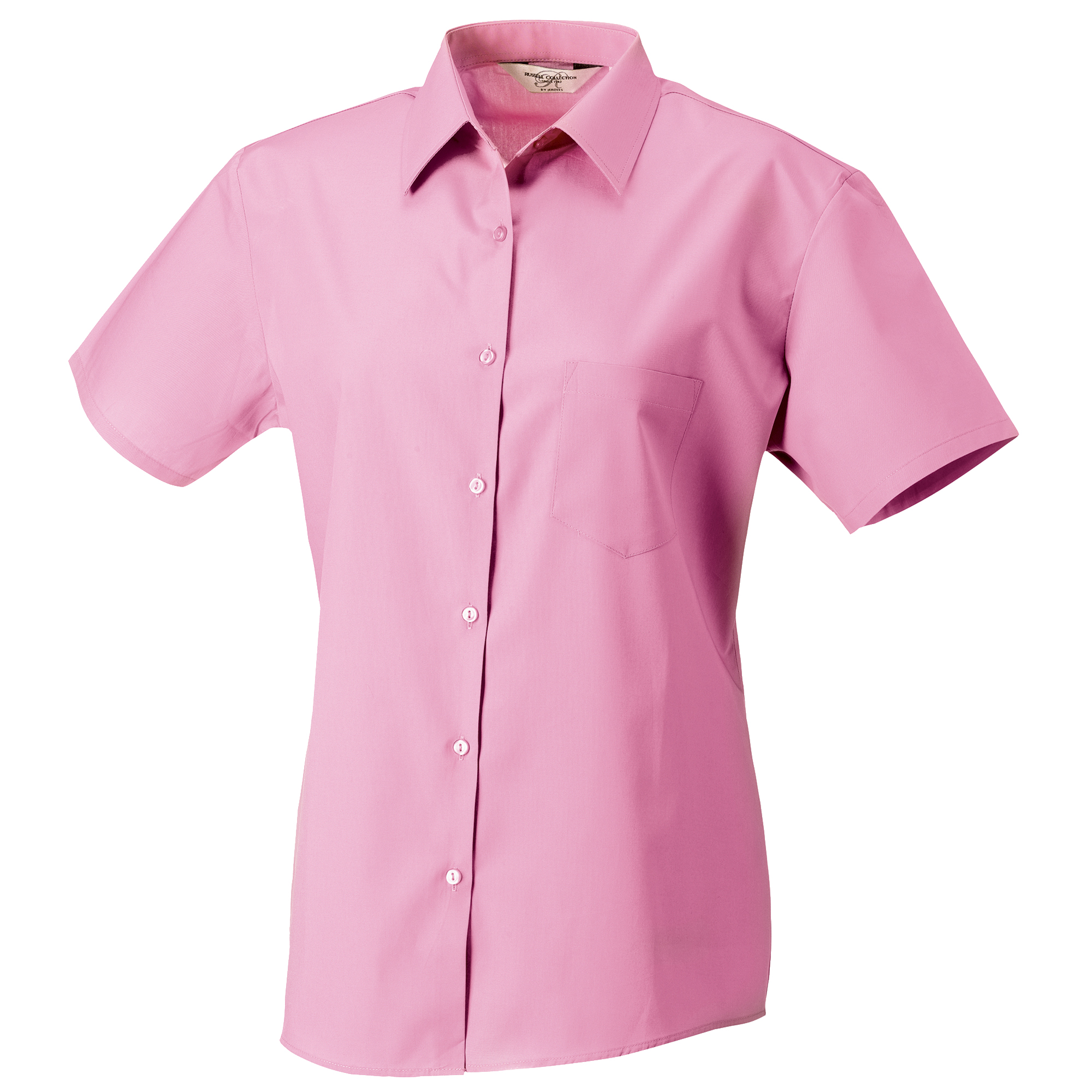 Russell Collection Womens/Ladies Short Sleeve Pure Cotton Easy Care Poplin Shirt (S) (Bright Pink)