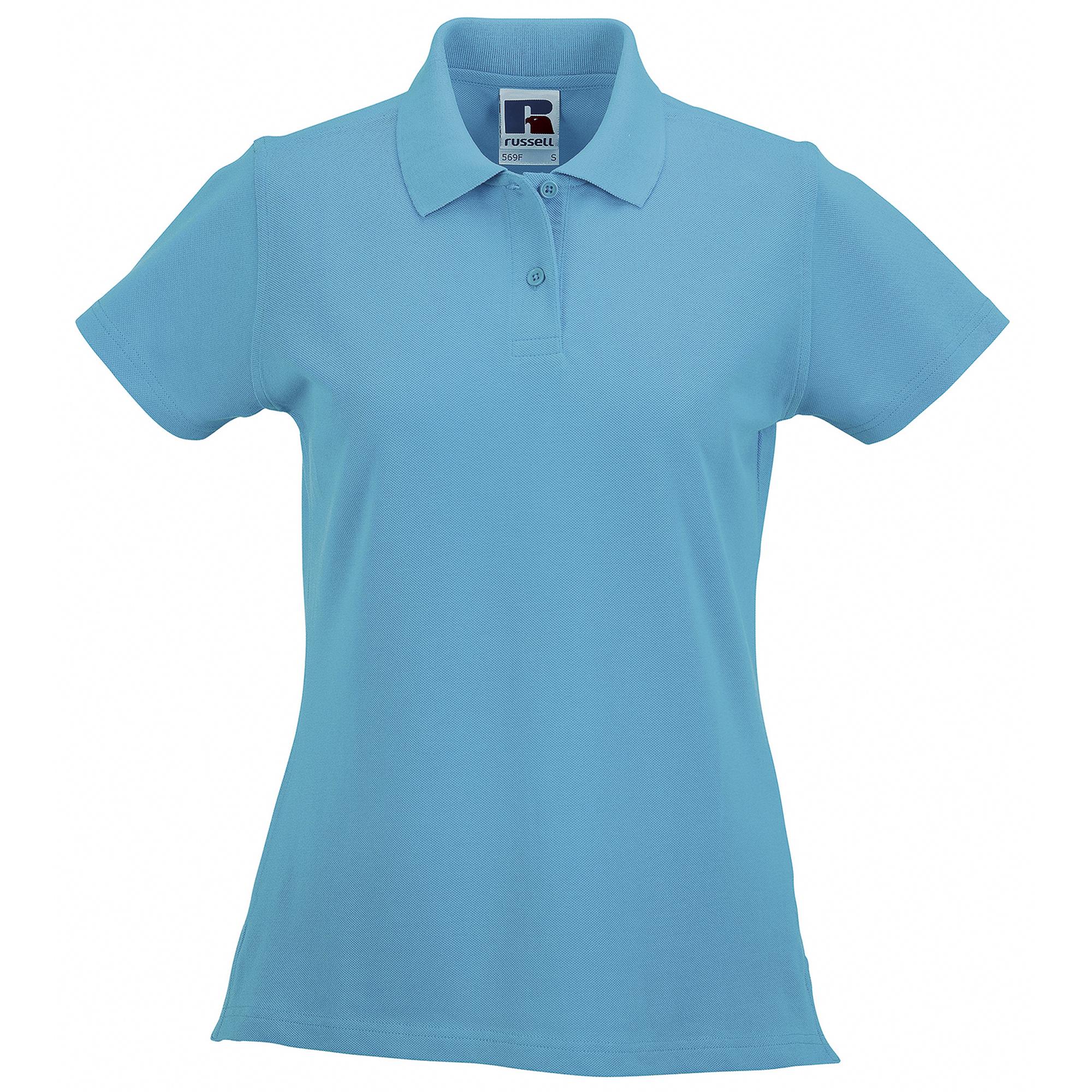 miniature 16 - Polo-uni-Russell-manches-courtes-100-coton-femme-et-fille-XS-2XL-RW3279