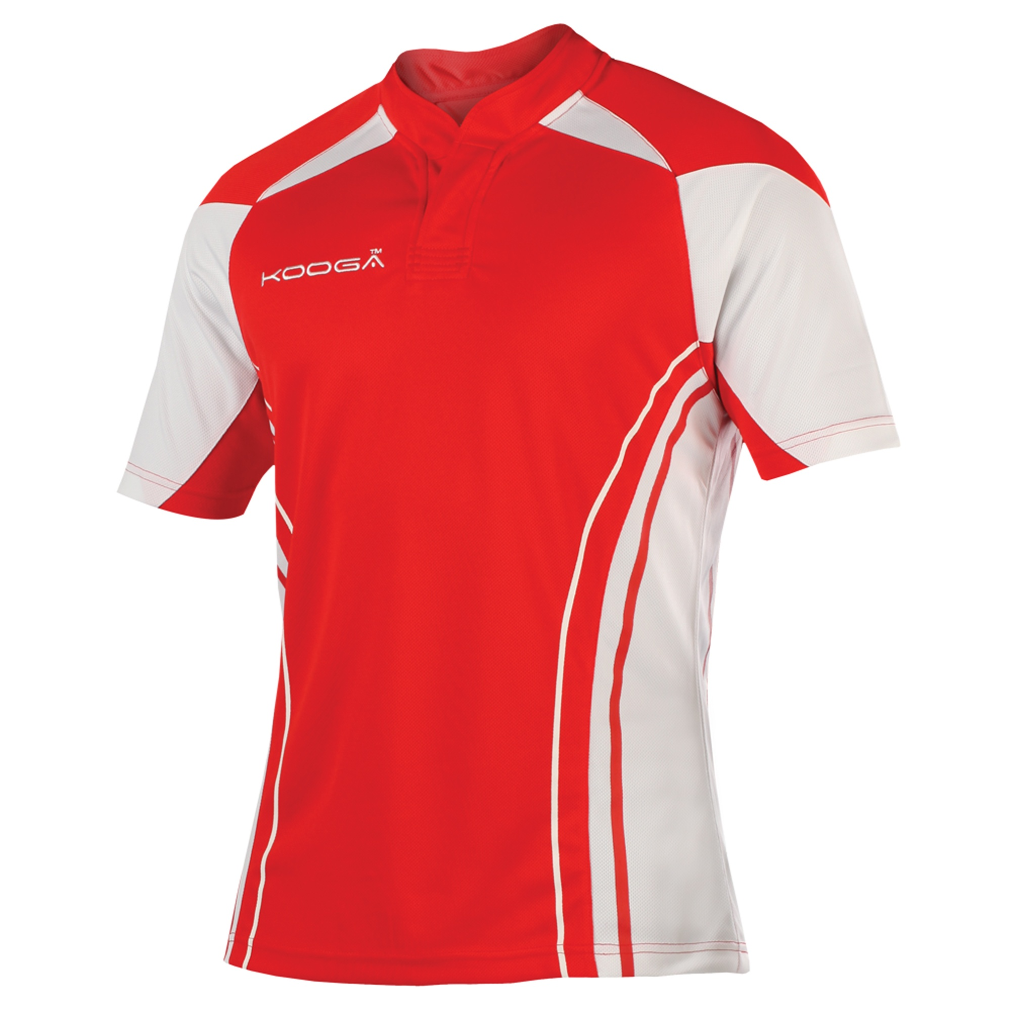 KooGa Boys Junior Stadium Match Rugby Shirt (S) (Red/White)