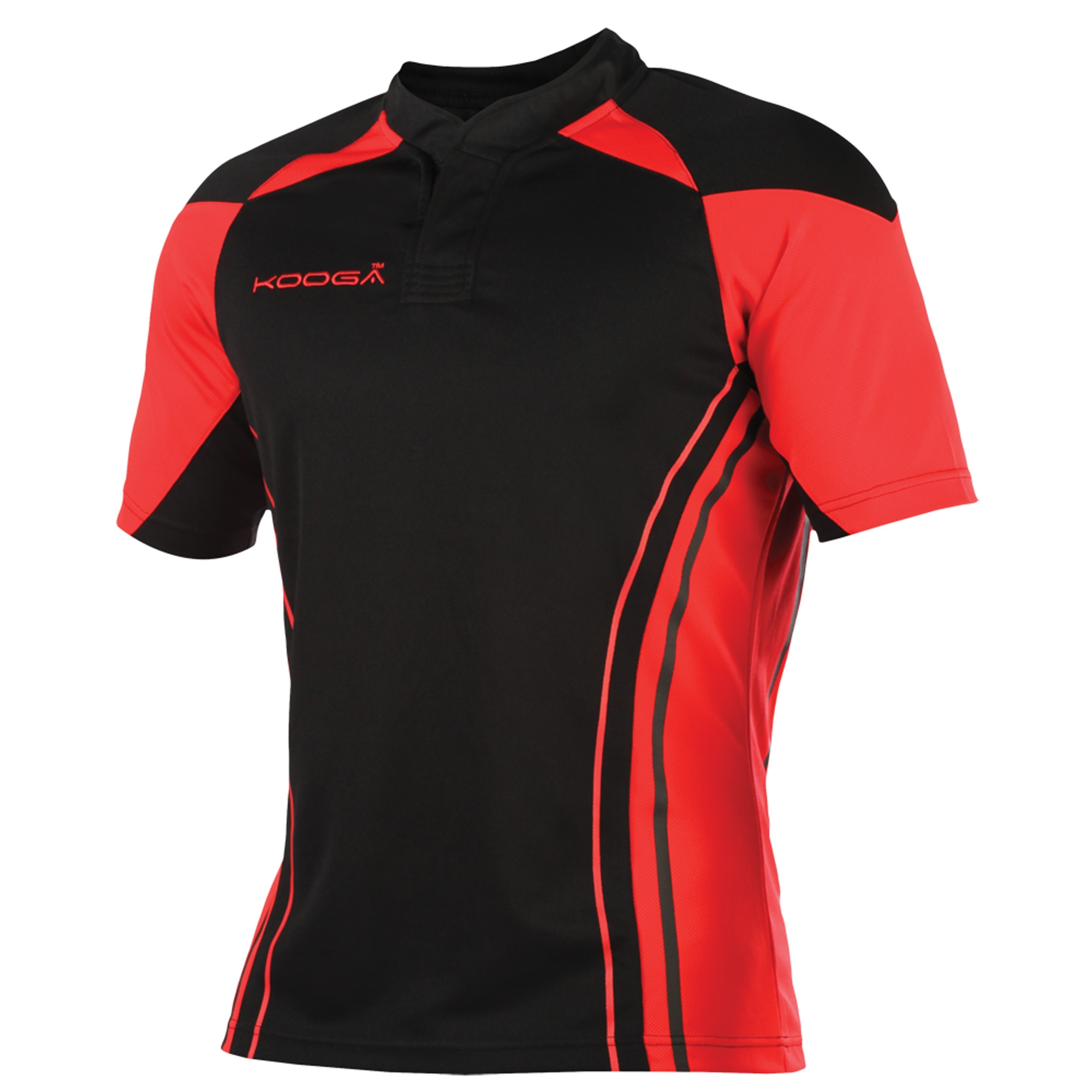 KooGa Boys Junior Stadium Match Rugby Shirt (L) (Black/Red)
