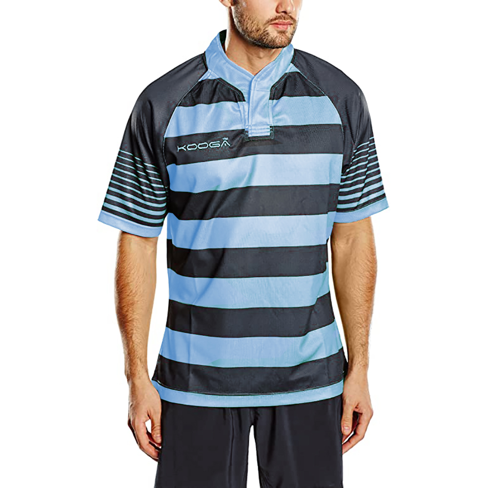 KooGa Boys Junior Touchline Hooped Match Rugby Shirt (L) (Black/Sky)
