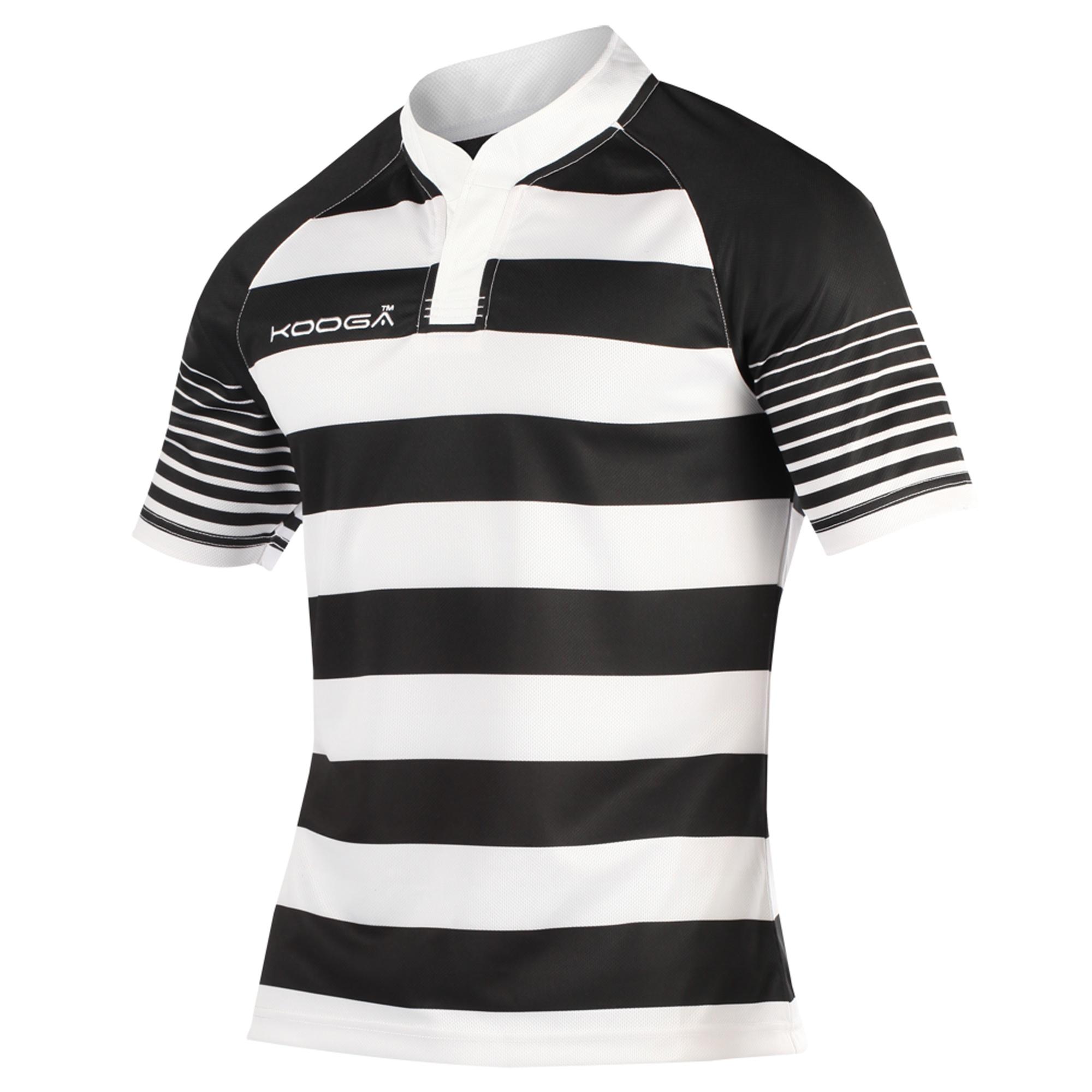 KooGa Boys Junior Touchline Hooped Match Rugby Shirt (XL) (Black/White)