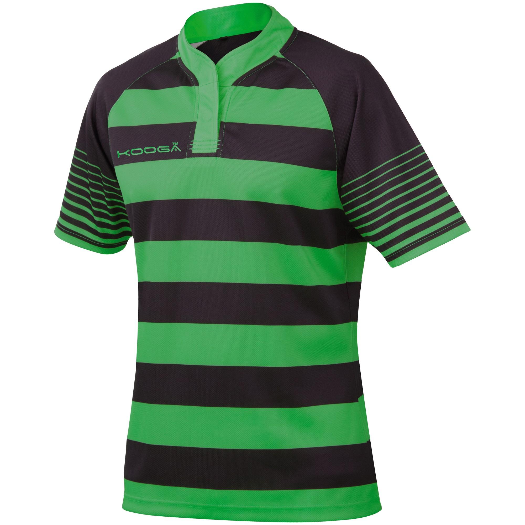 KooGa Boys Junior Touchline Hooped Match Rugby Shirt (S) (Black / Emerald Green)