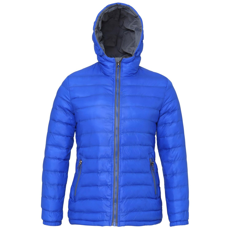 2786 Womens/Ladies Hooded Water & Wind Resistant Padded Jacket (L) (Royal/Grey)