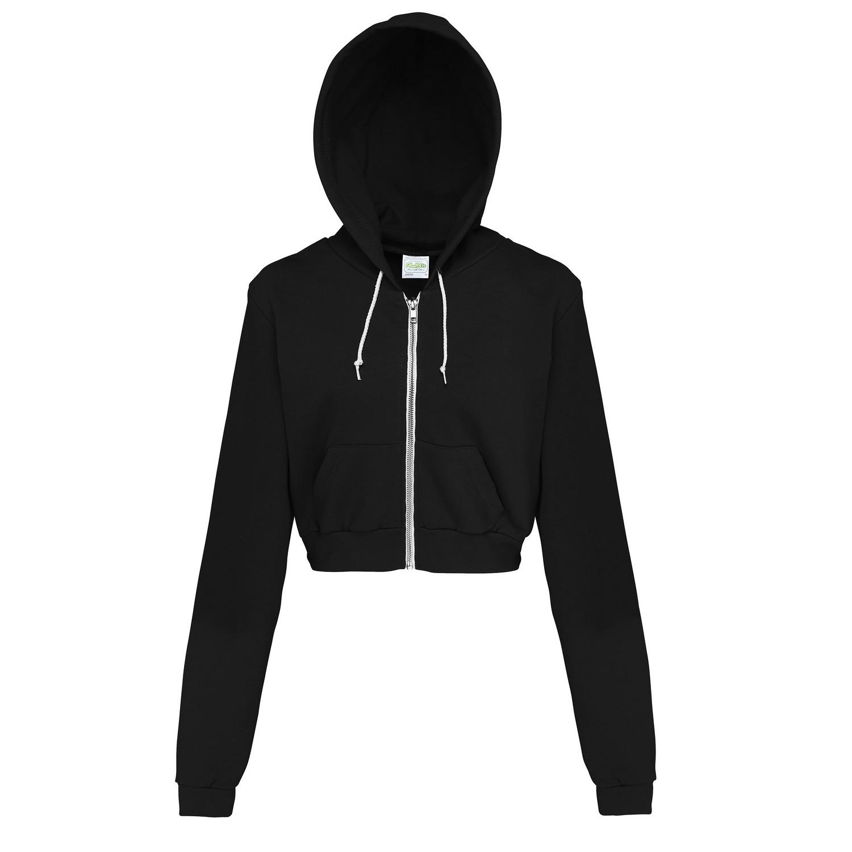 AWDis Just Hoods Womens/Ladies Girlie Cropped Full Zip Hoodie Jacket (XS) (Jet Black)