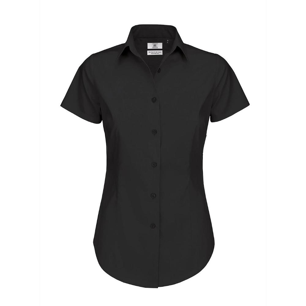 B&C Womens/Ladies Black Tie Formal Short Sleeve Work Shirt (L) (Black)