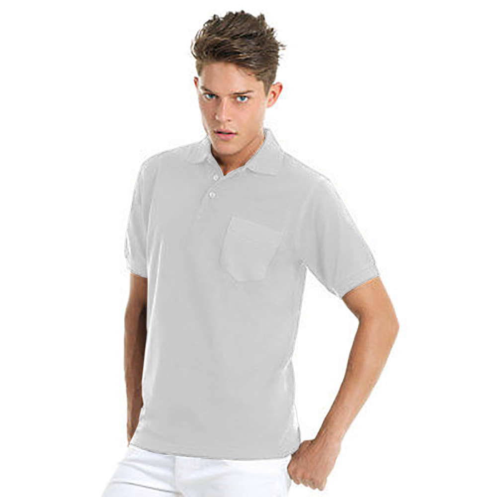 B&C Mens Safran Plain Short Sleeve Polo Shirt With Pocket