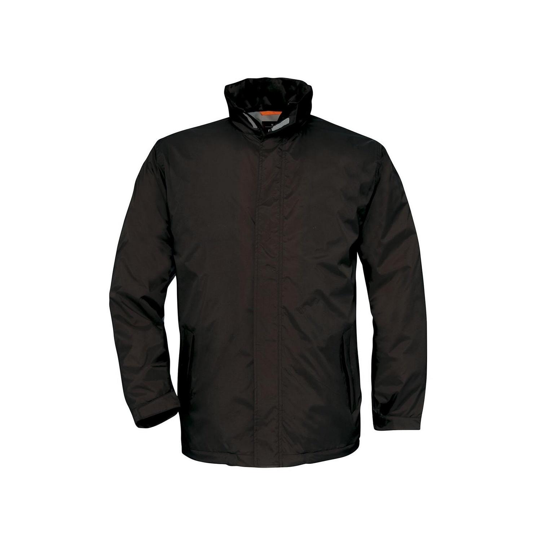 B&C Mens Ocean Shore Waterproof Hooded Fleece Lined Jacket (3XL) (Black)