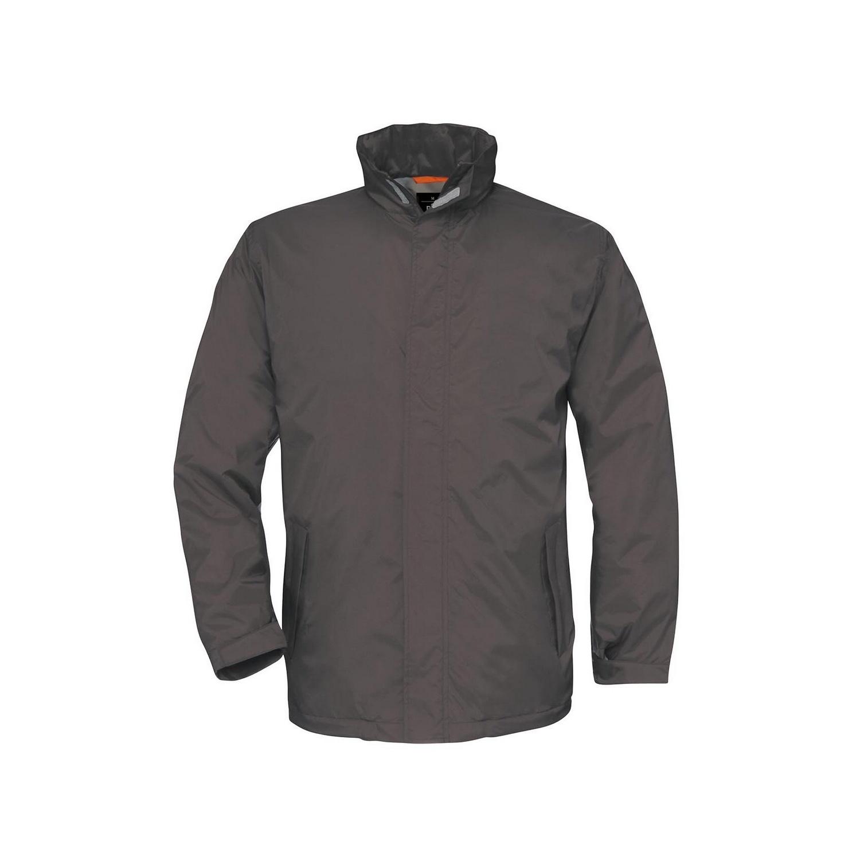 B&C Mens Ocean Shore Waterproof Hooded Fleece Lined Jacket (XL) (Dark Grey)
