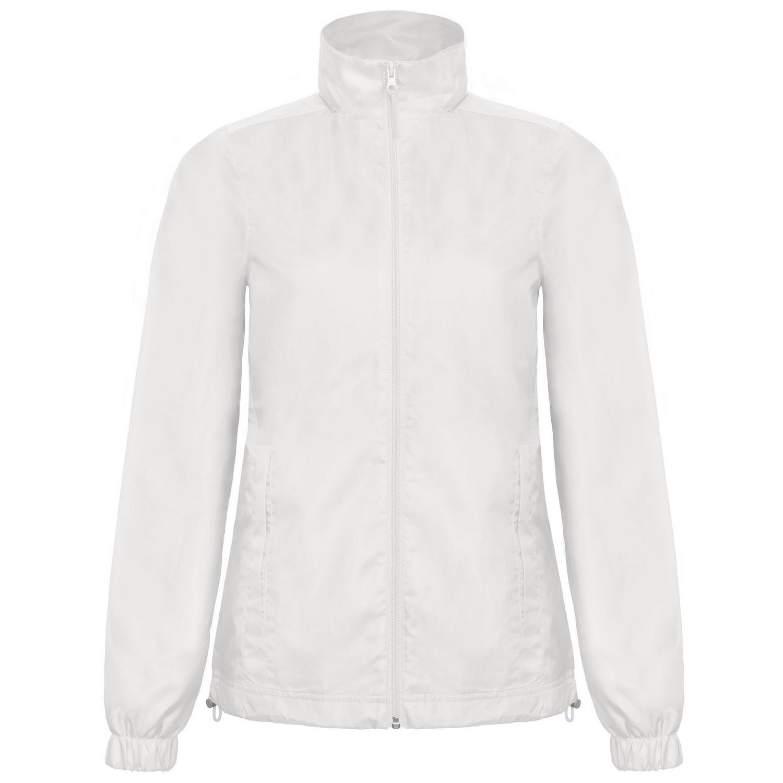 B&C Womens/Ladies ID.601 Hooded Showerproof Windbreaker Jacket (M) (White)