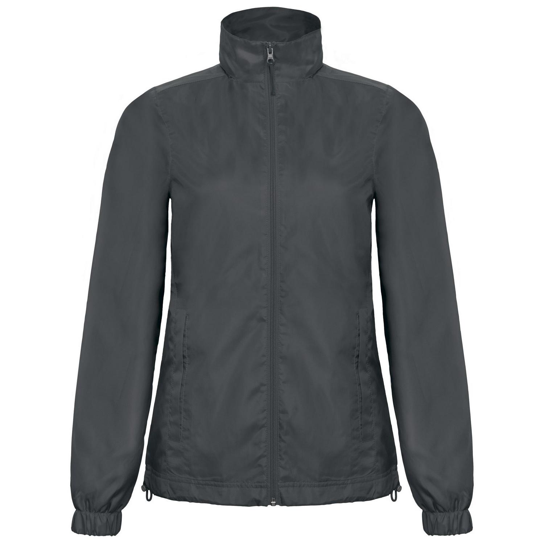 B&C Womens/Ladies ID.601 Hooded Showerproof Windbreaker Jacket (2XL) (Dark Grey)