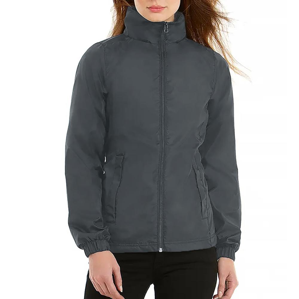 B&C Womens/Ladies ID.601 Hooded Showerproof Windbreaker Jacket (S) (Navy)