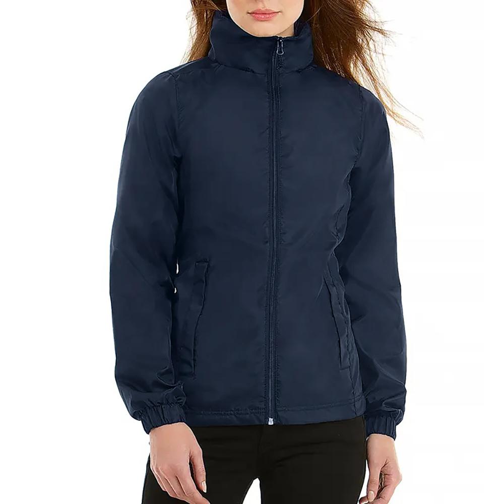 B&C Womens/Ladies ID.601 Hooded Showerproof Windbreaker Jacket (S) (Red)