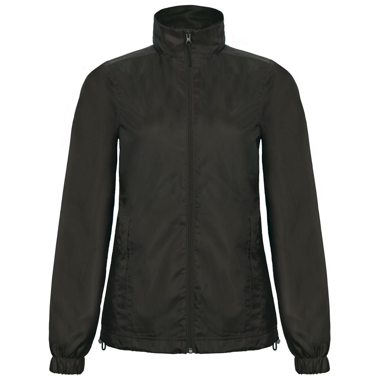B&C Womens/Ladies ID.601 Hooded Showerproof Windbreaker Jacket (S) (Black)