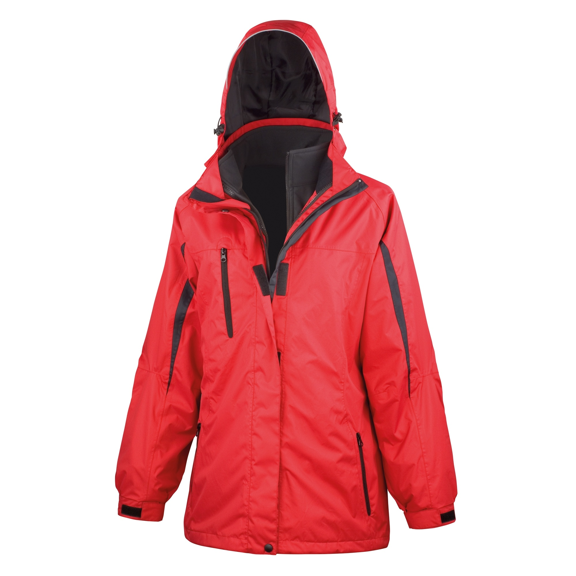 Result Womens/Ladies 3 In 1 Softshell Journey Jacket With Hood (S) (Red / Black)