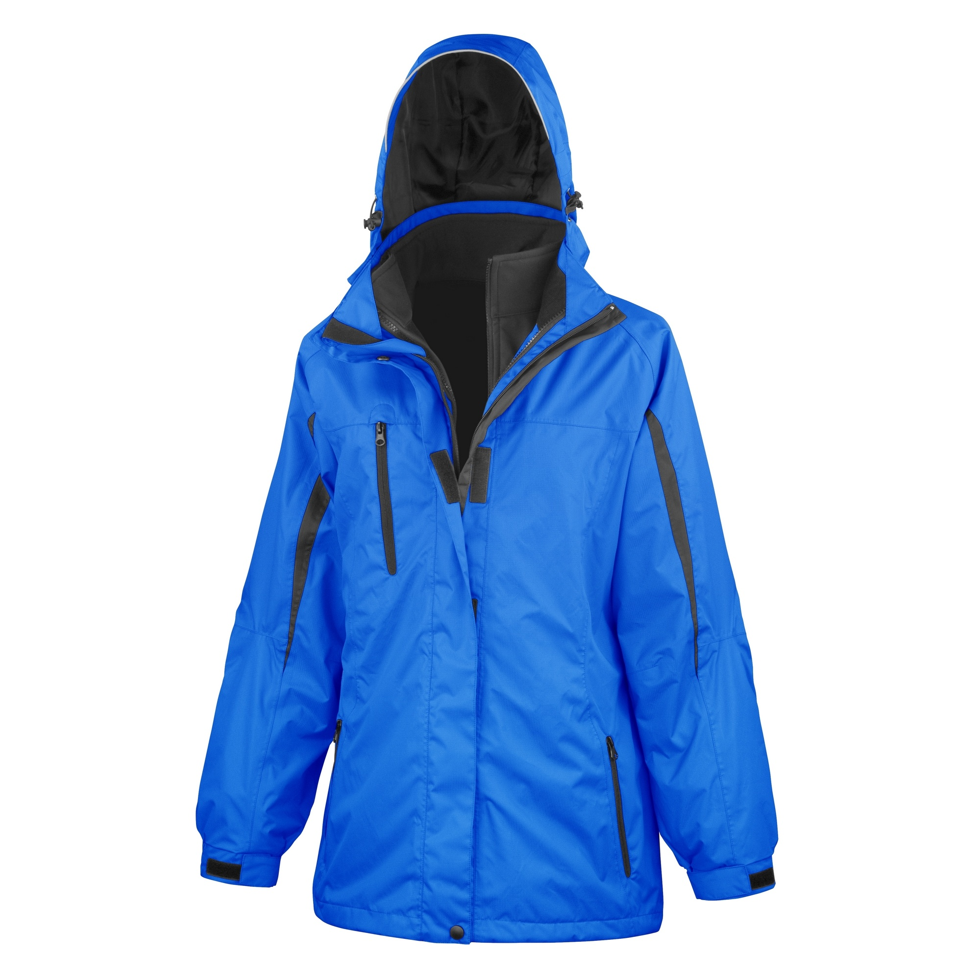 Result Womens/Ladies 3 In 1 Softshell Journey Jacket With Hood (XL) (Royal / Black)