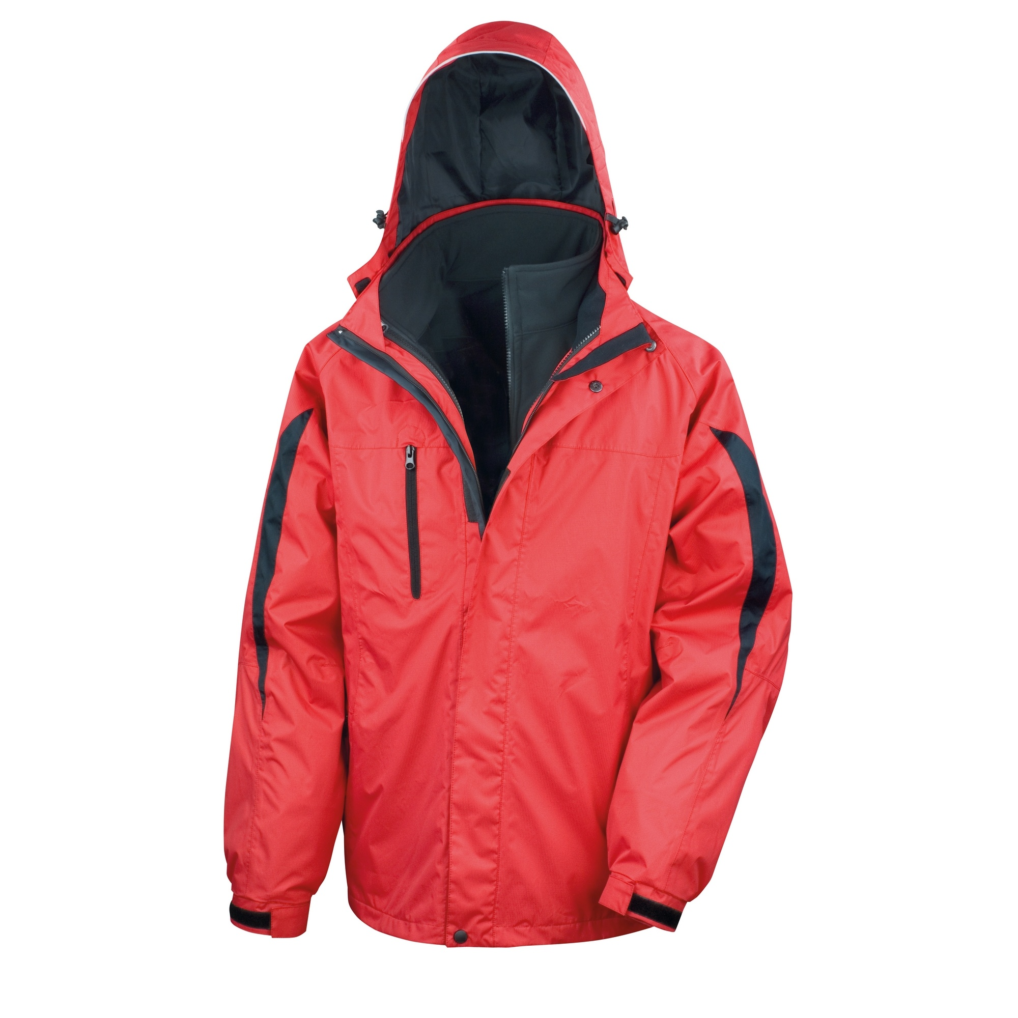 Result Mens 3 In 1 Softshell Waterproof Journey Jacket With Hood (L) (Red / Black)