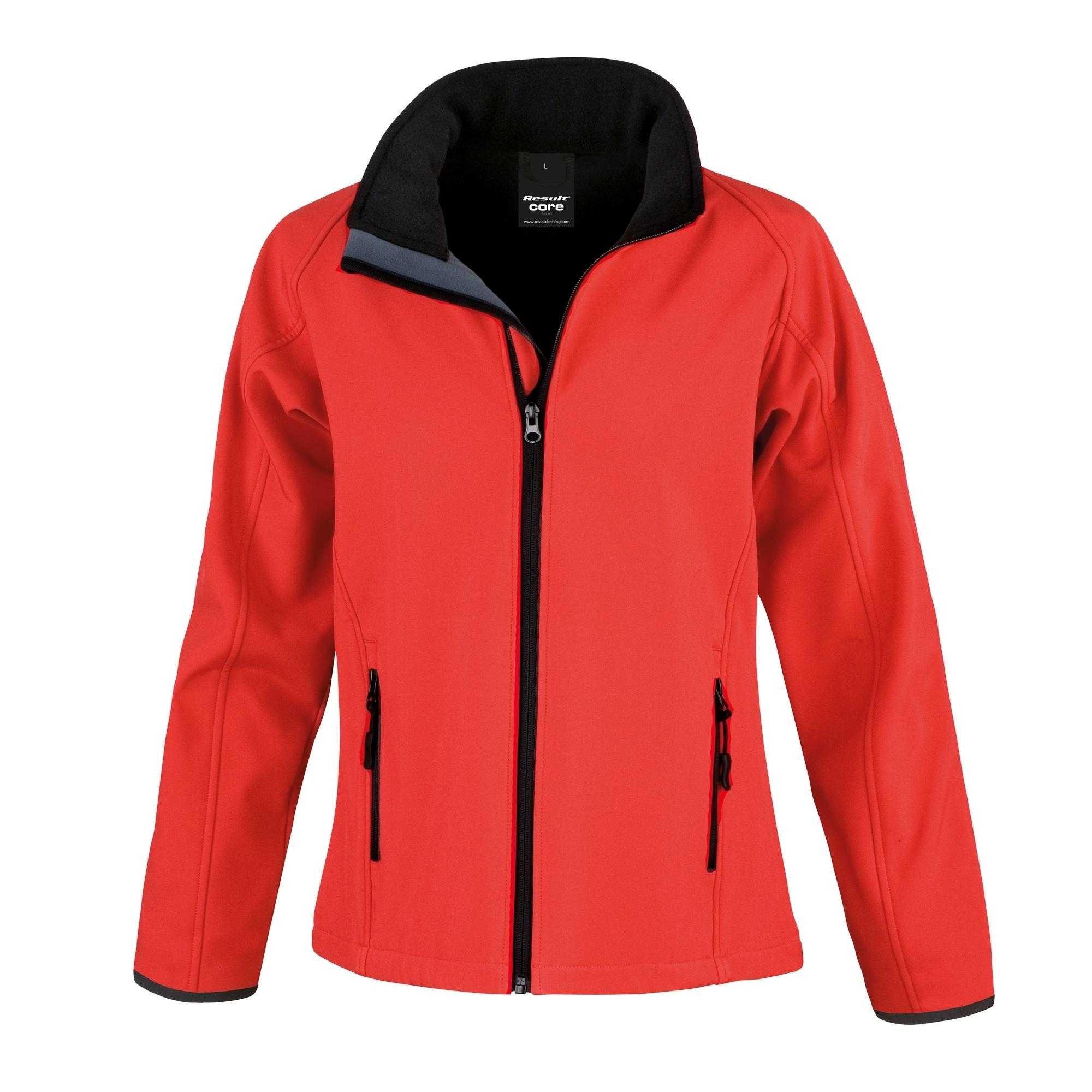 Result Womens/Ladies Core Printable Softshell Jacket (L) (Red / Black)