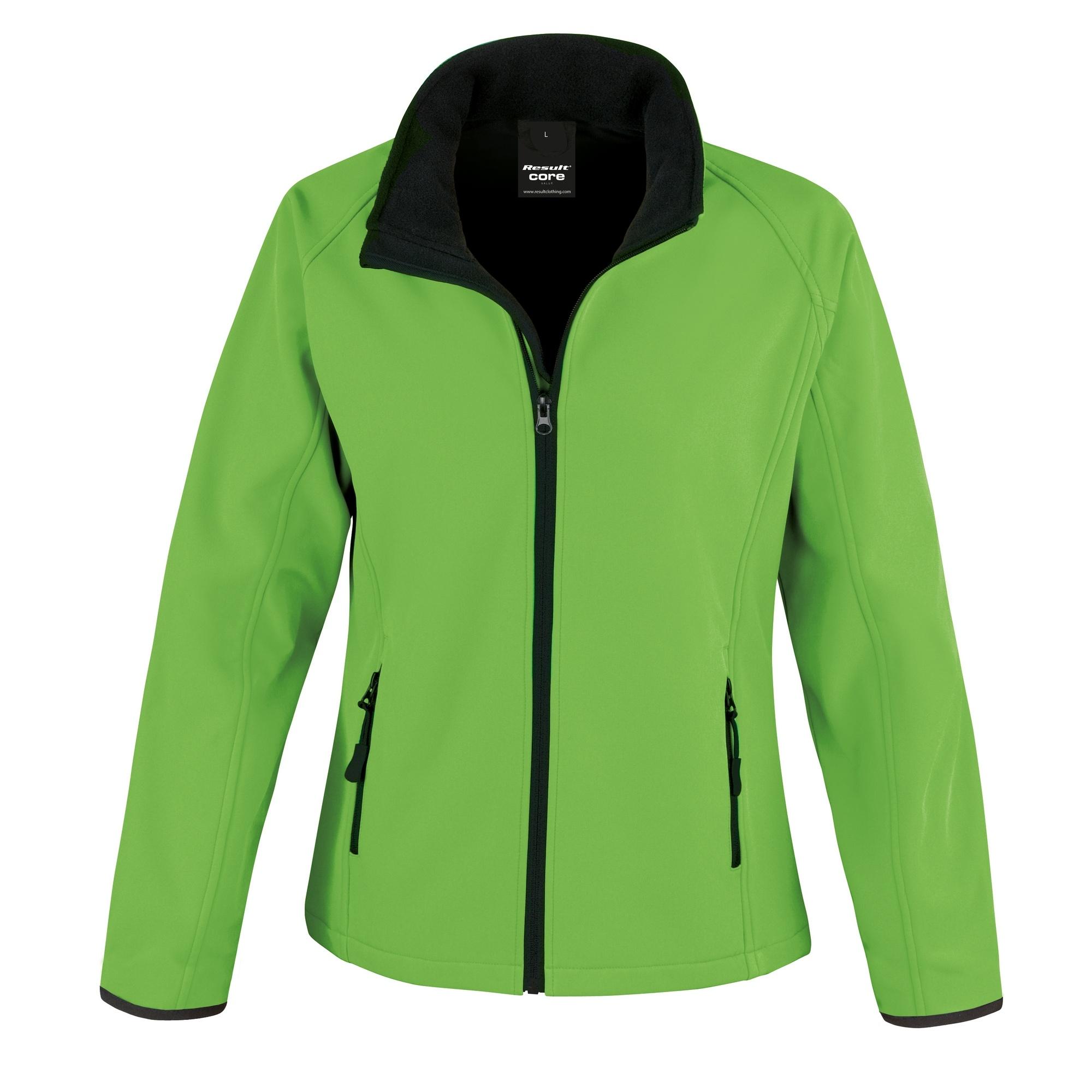 Result Womens/Ladies Core Printable Softshell Jacket (L) (Vivid Green / Black)