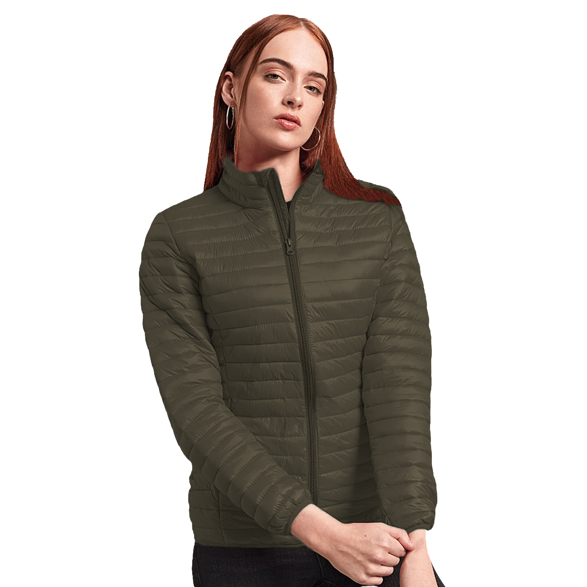 2786 Womens/Ladies Tribe Hooded Fineline Padded Jacket (L) (Red)