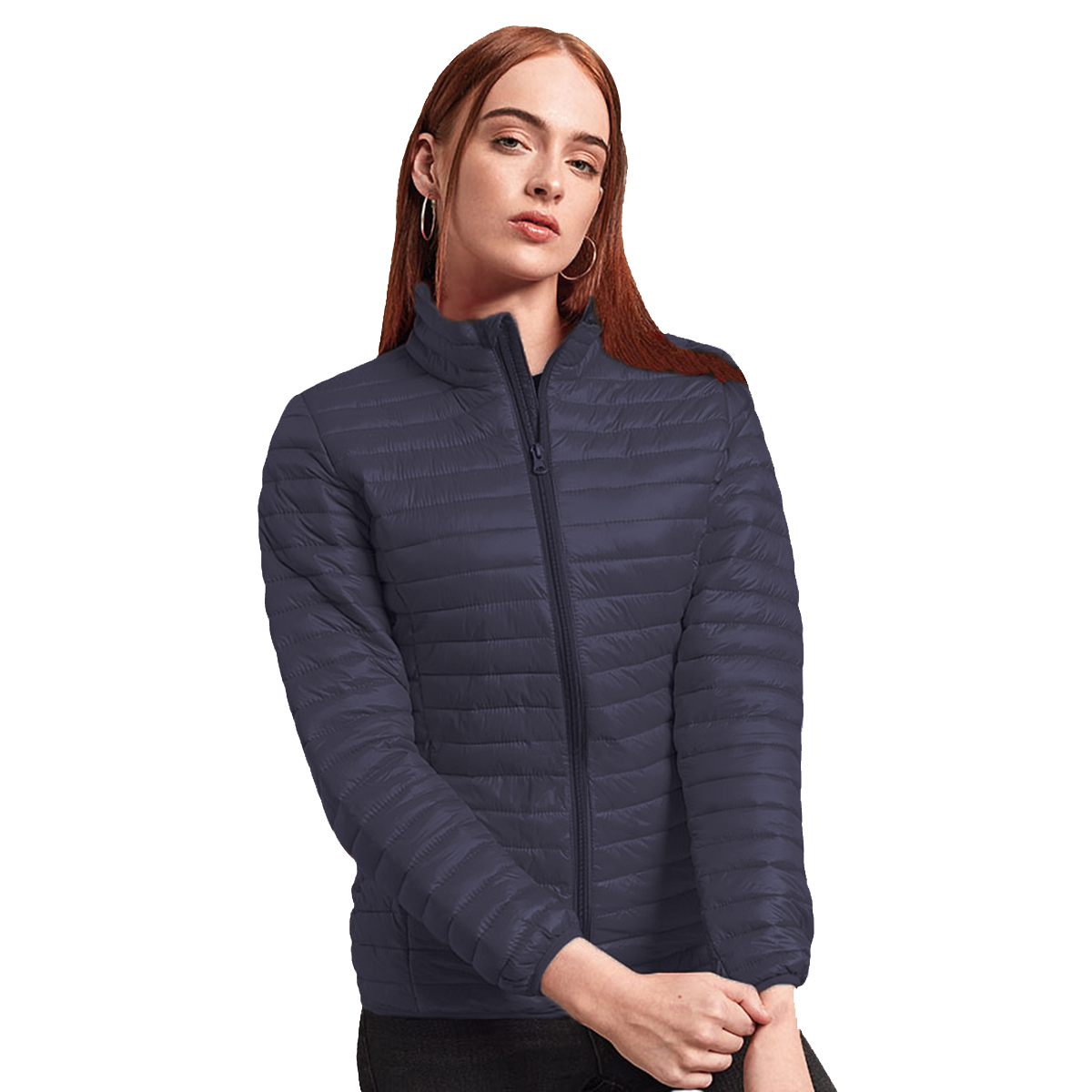 2786 Womens/Ladies Tribe Hooded Fineline Padded Jacket (XL) (Hot Pink)