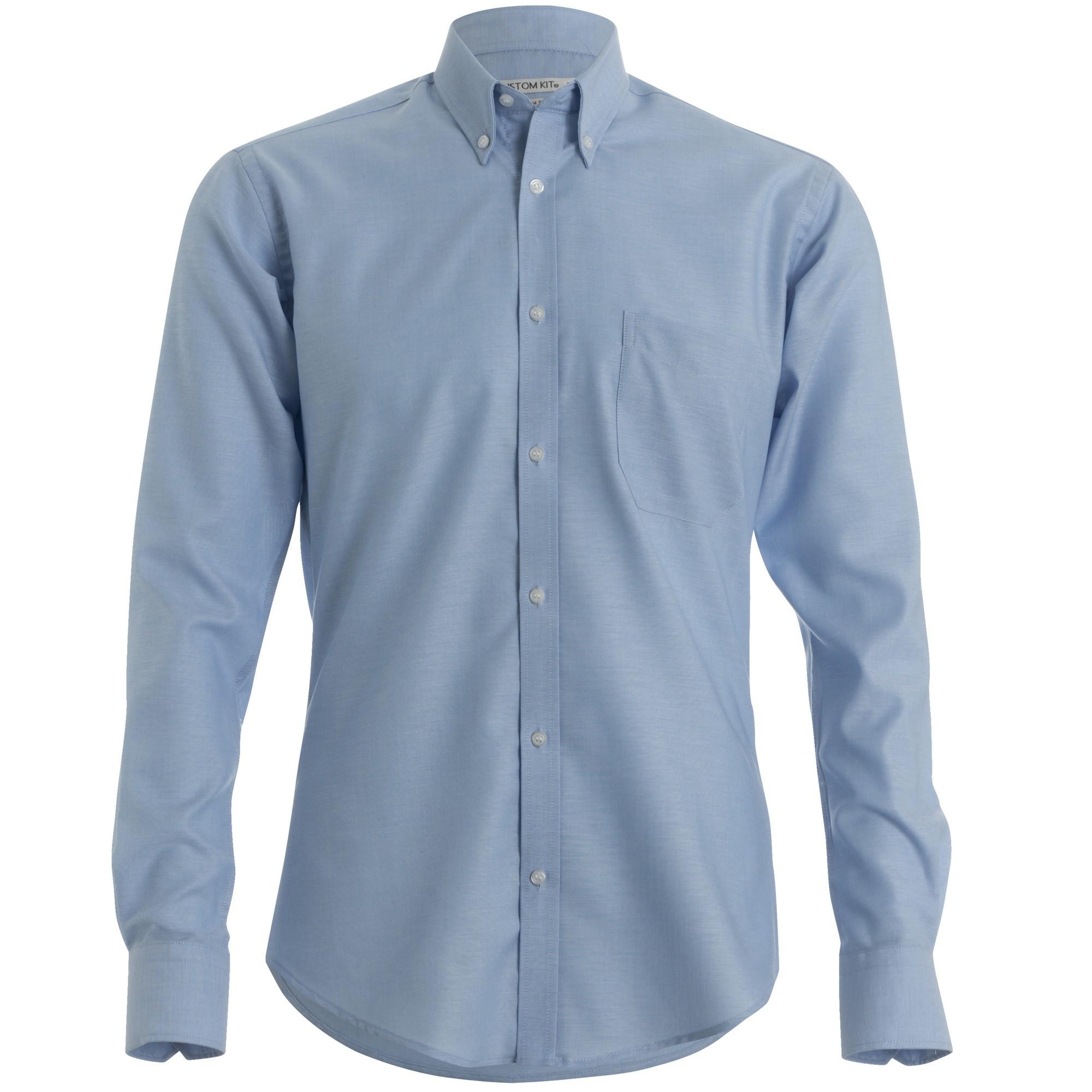 Kustom Kit Mens Slim Fit Long Sleeved Oxford Work Shirt (15.5) (Light Blue)