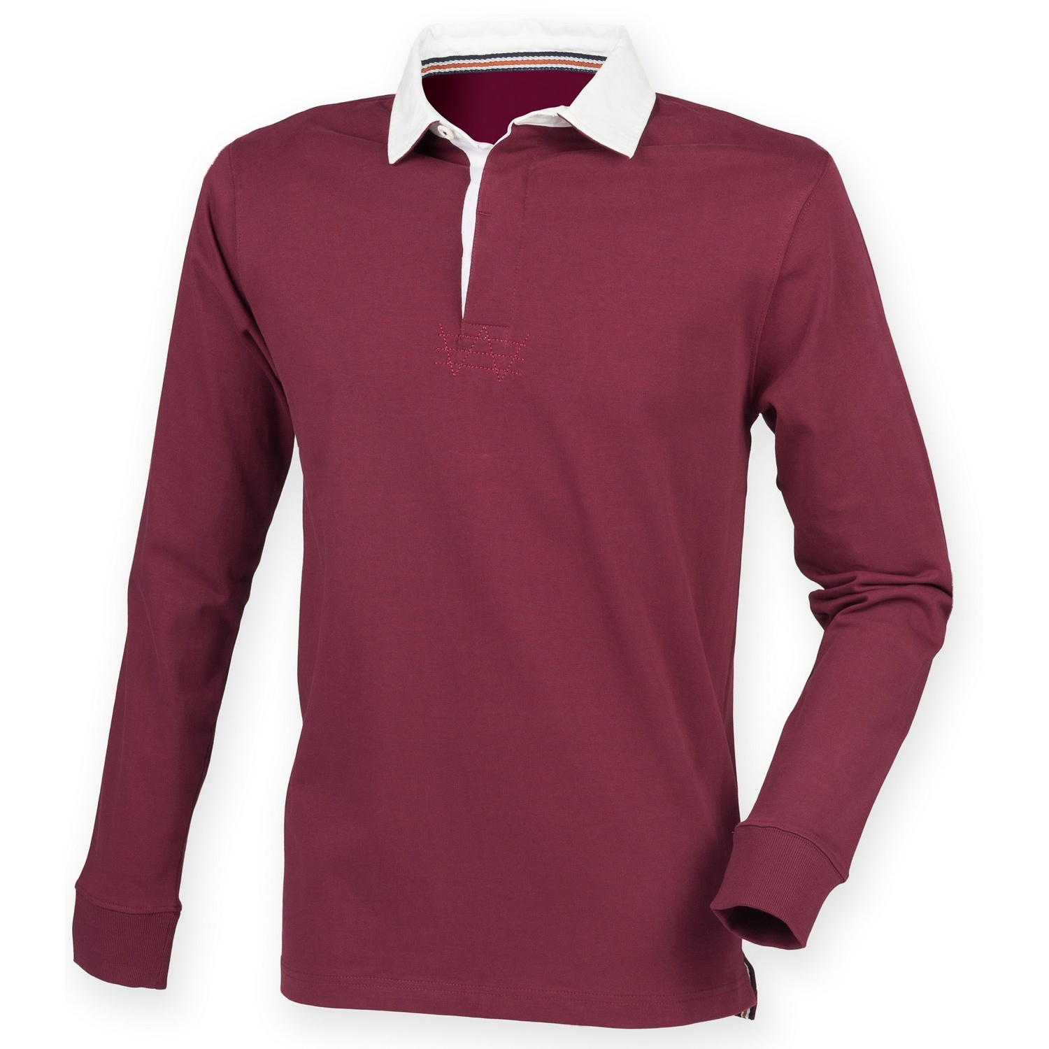 Front Row Mens Premium Long Sleeve Rugby Shirt/Top (2XL) (Burgundy)