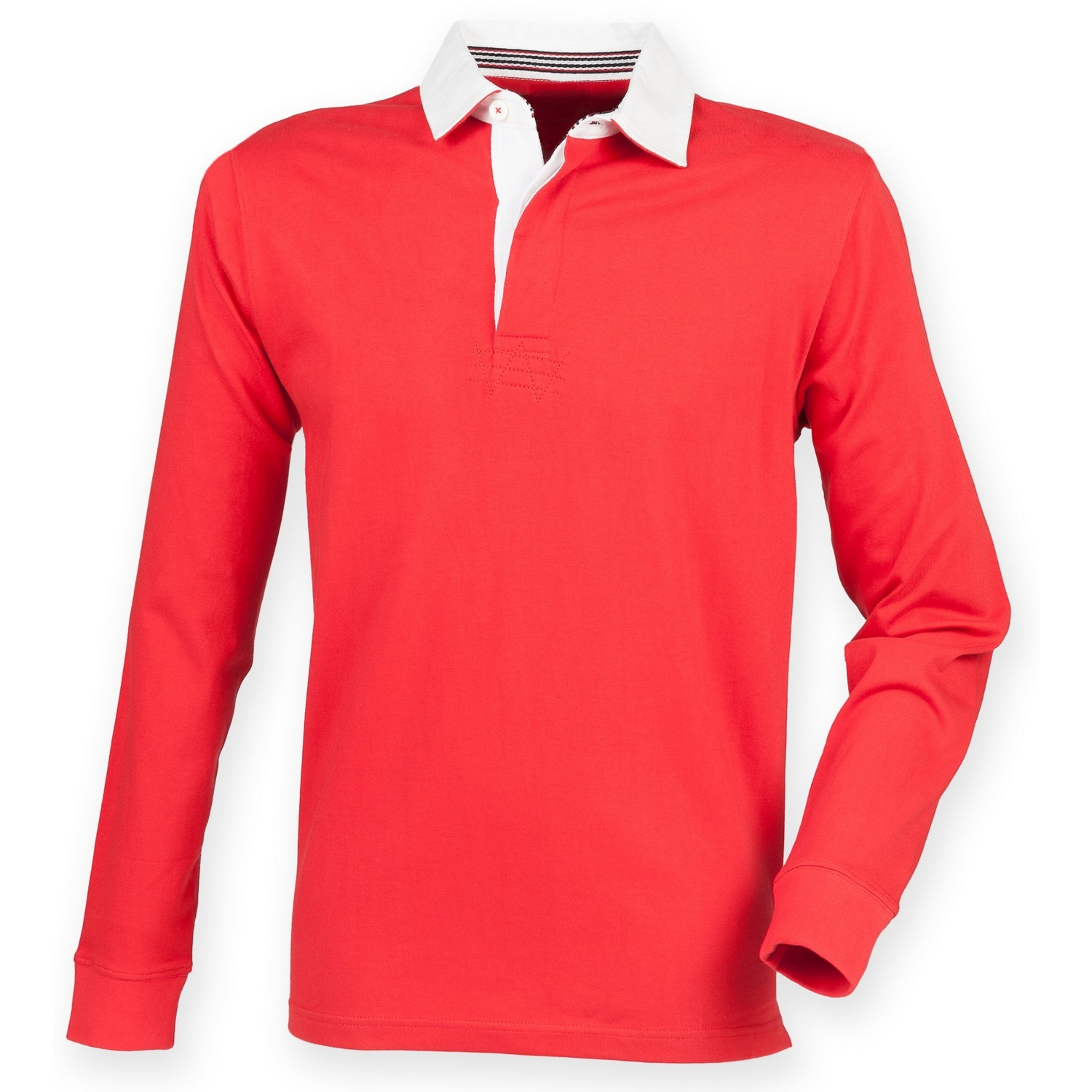 Front Row Mens Premium Long Sleeve Rugby Shirt/Top (2XL) (Red)