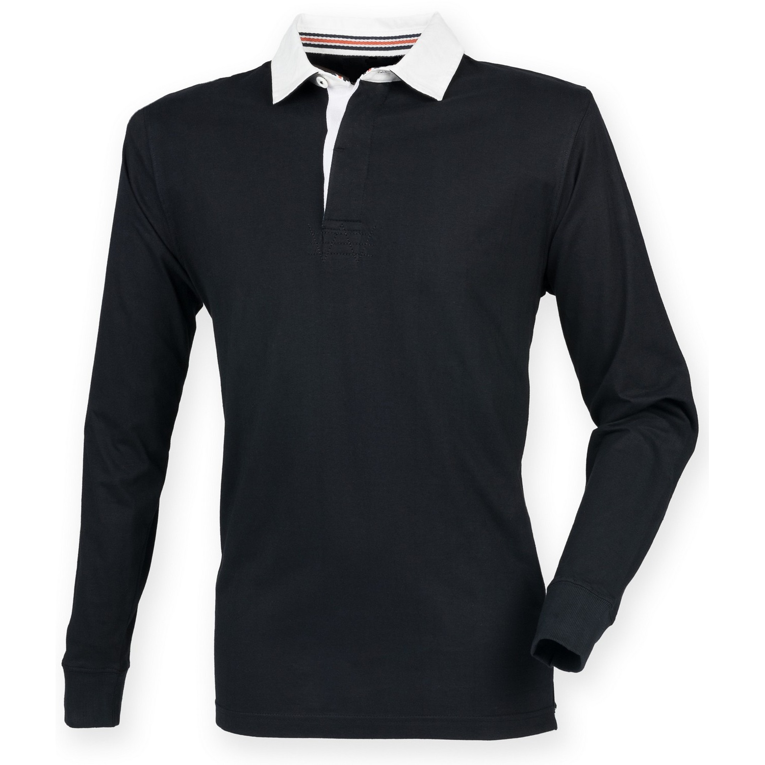 Front Row Mens Premium Long Sleeve Rugby Shirt/Top (2XL) (Black)