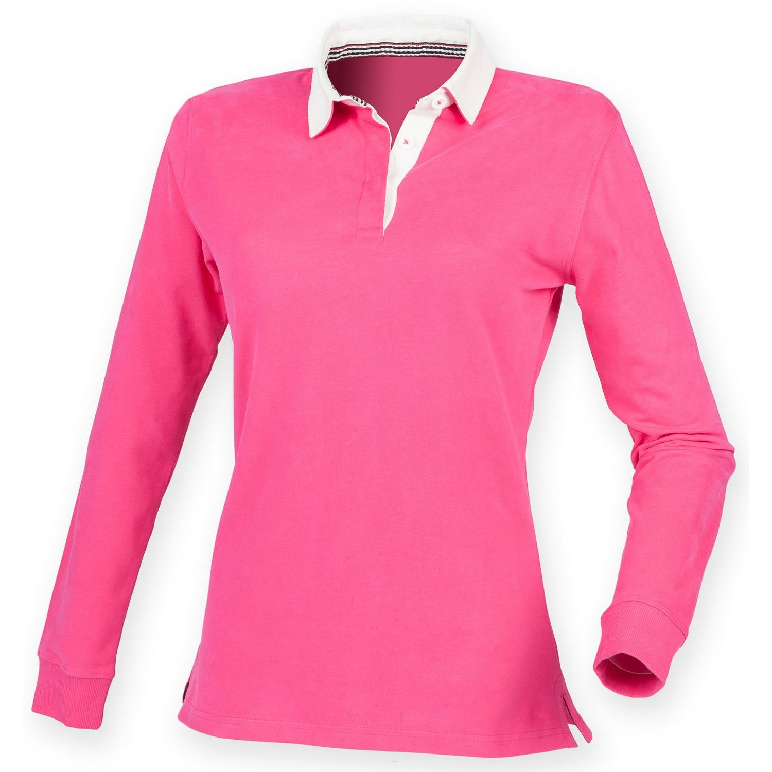 Front Row Womens/Ladies Premium Long Sleeve Rugby Shirt/Top (S) (Bright Pink)