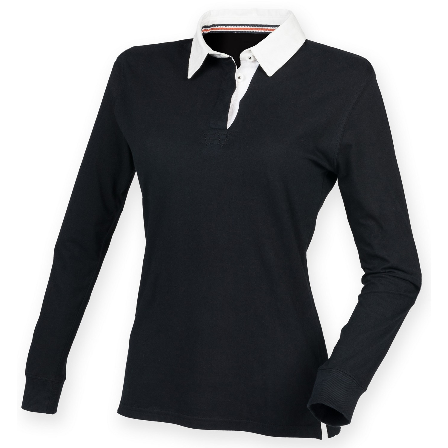 Front Row Womens/Ladies Premium Long Sleeve Rugby Shirt/Top (XS) (Black)
