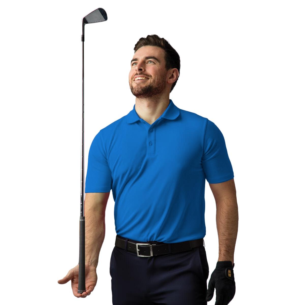 Glenmuir Mens Plain Performance Pique Short Sleeve Golf Polo Shirt (L) (Black)