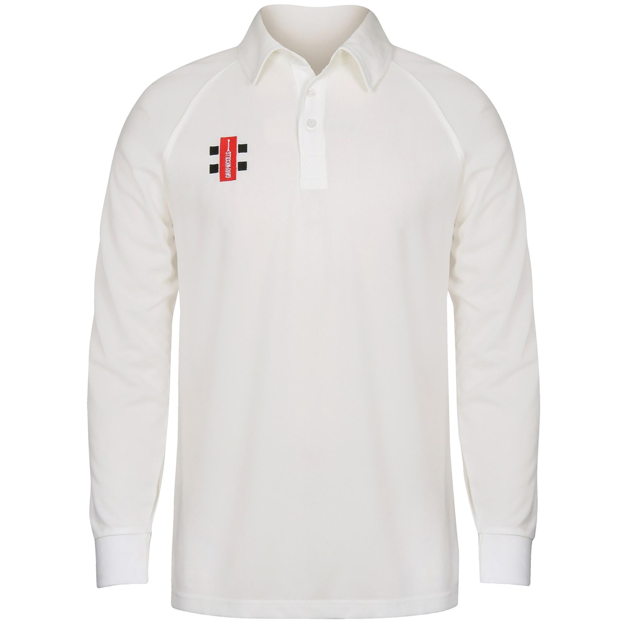 Gray-Nicolls Mens Matrix Long Sleeve Cricket Shirt (XS) (Ivory)