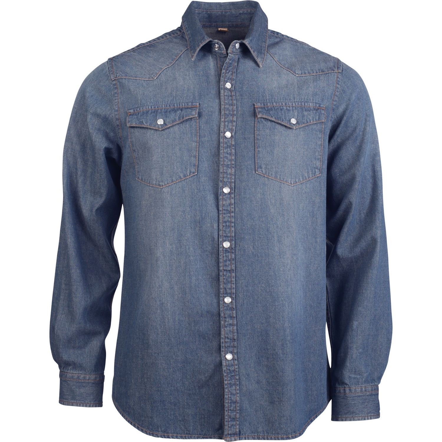 Kariban Mens Long Sleeve Casual Denim Shirt (S) (Blue Jean)