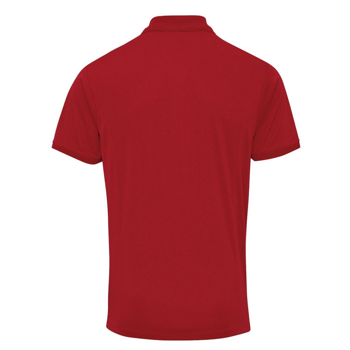 Premier Mens Coolchecker Pique Short Sleeve Polo T-Shirt (L) (Red)