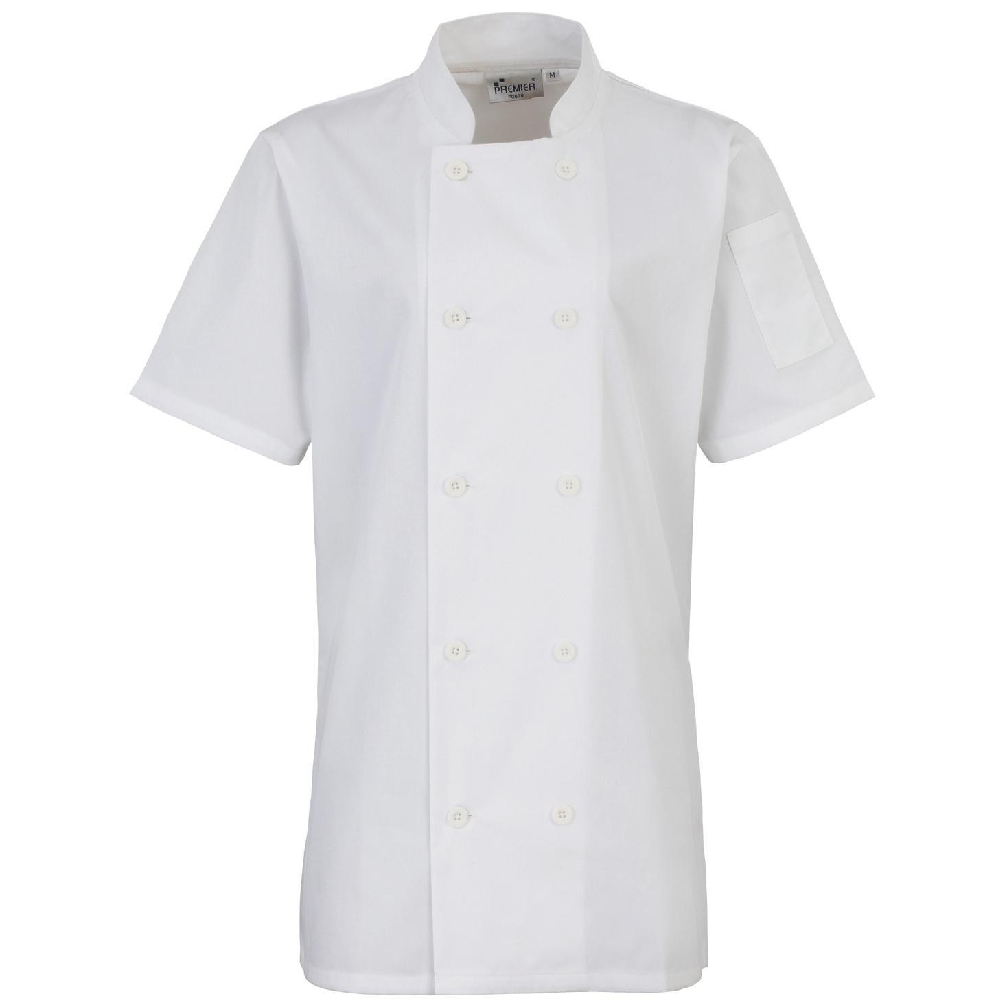 Premier Womens/Ladies Short Sleeve Chefs Jacket / Chefswear (2XL) (White)
