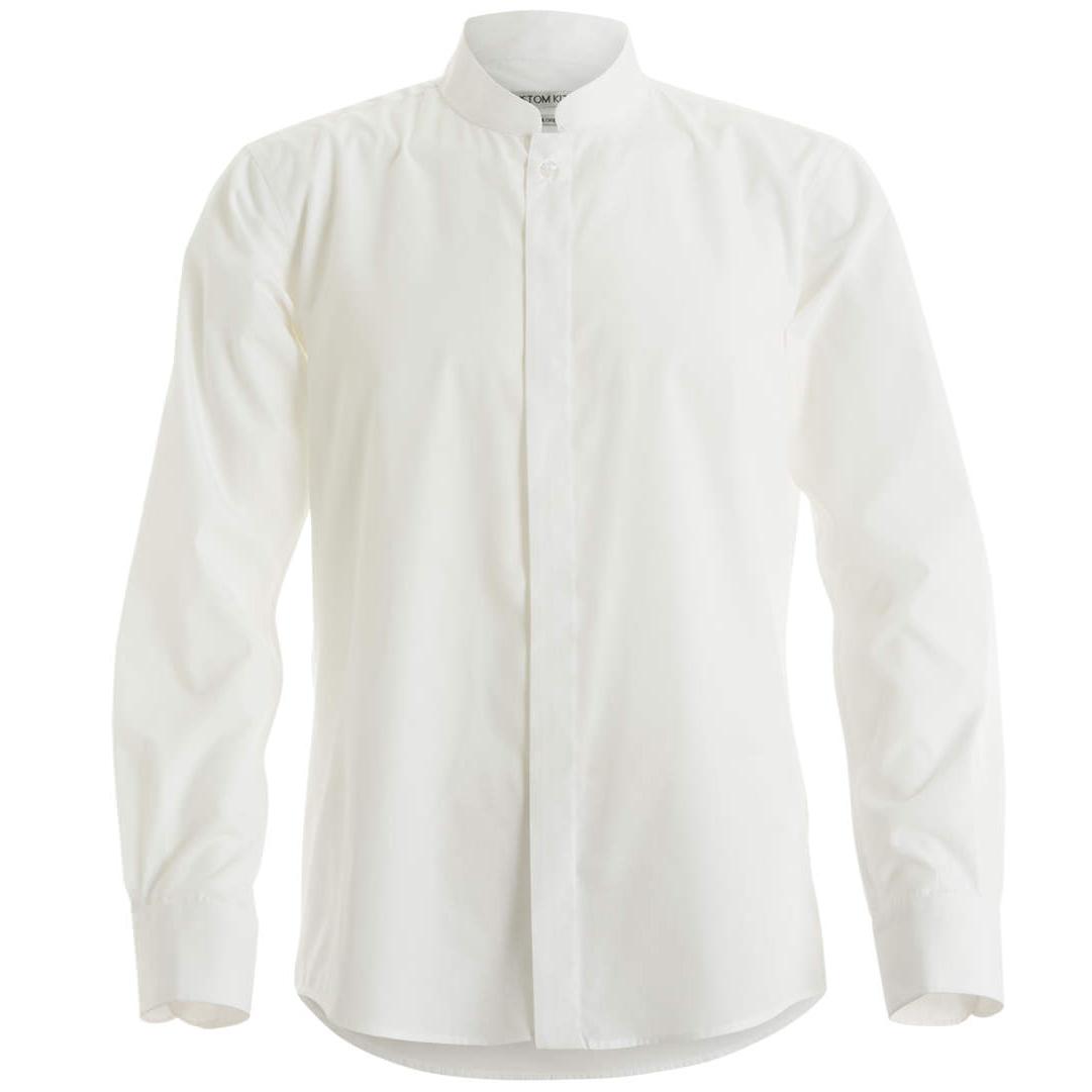 Kustom Kit Mens Mandarin Collar Fitted Long Sleeve Corporate Shirt (XL) (White)