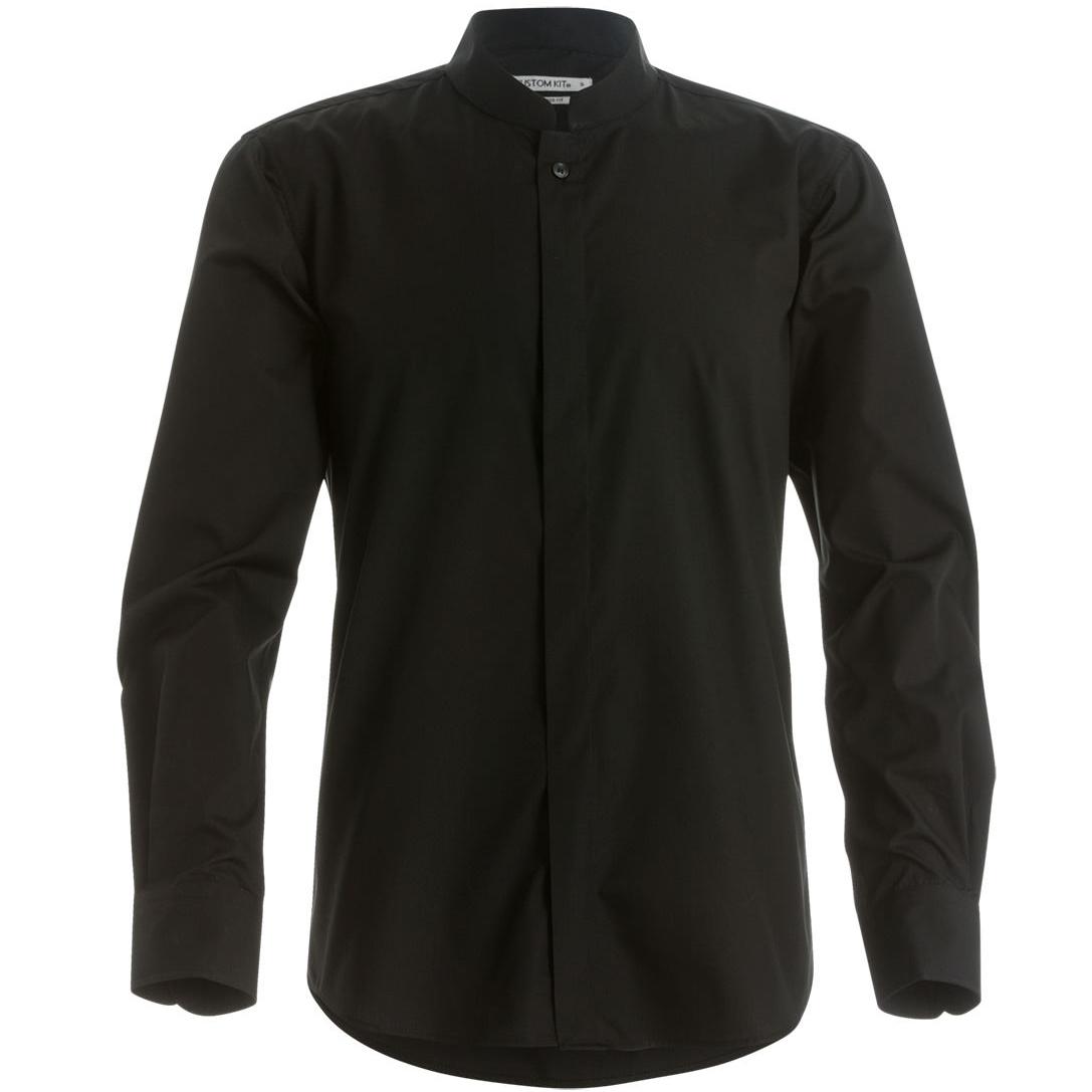Kustom Kit Mens Mandarin Collar Fitted Long Sleeve Corporate Shirt (M) (Black)