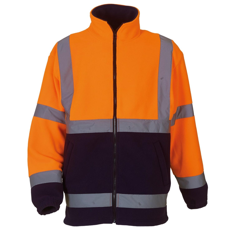 Yoko Mens Hi Vis Heavyweight Fleece Jacket (M) (Orange/ Navy)