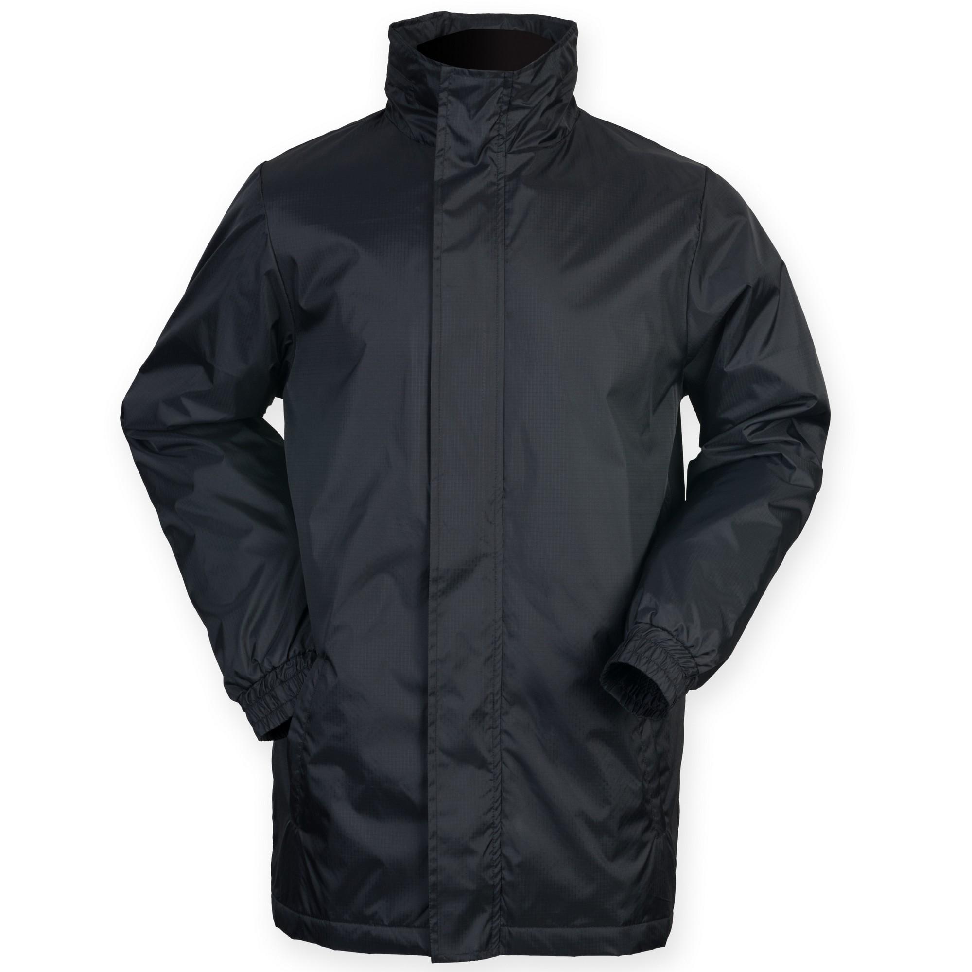 Finden & Hales Mens Touchline Hooded Full Zip Sports Jacket (L) (Black)