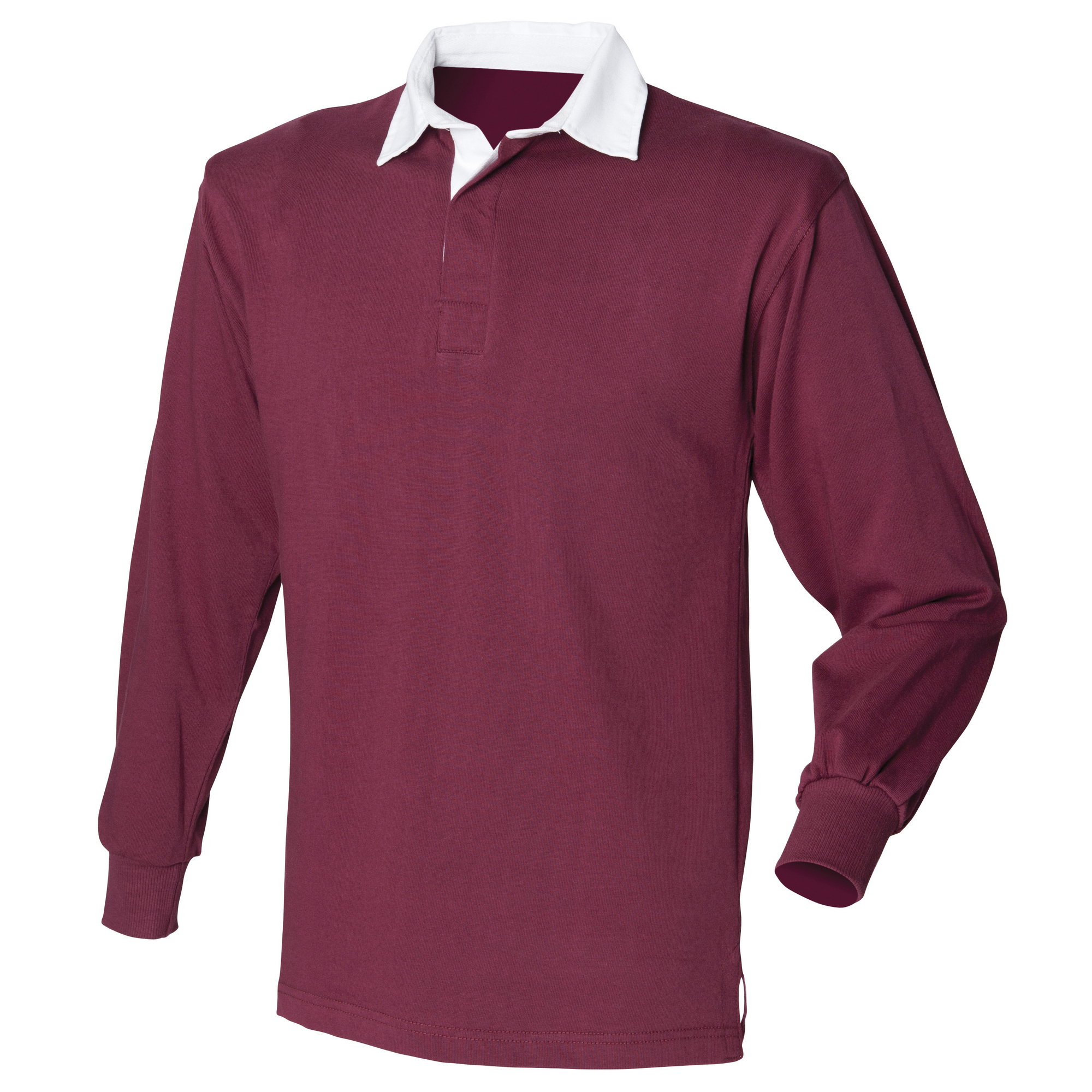 Front Row Mens Long Sleeve Sports Rugby Shirt (M) (Burgundy)