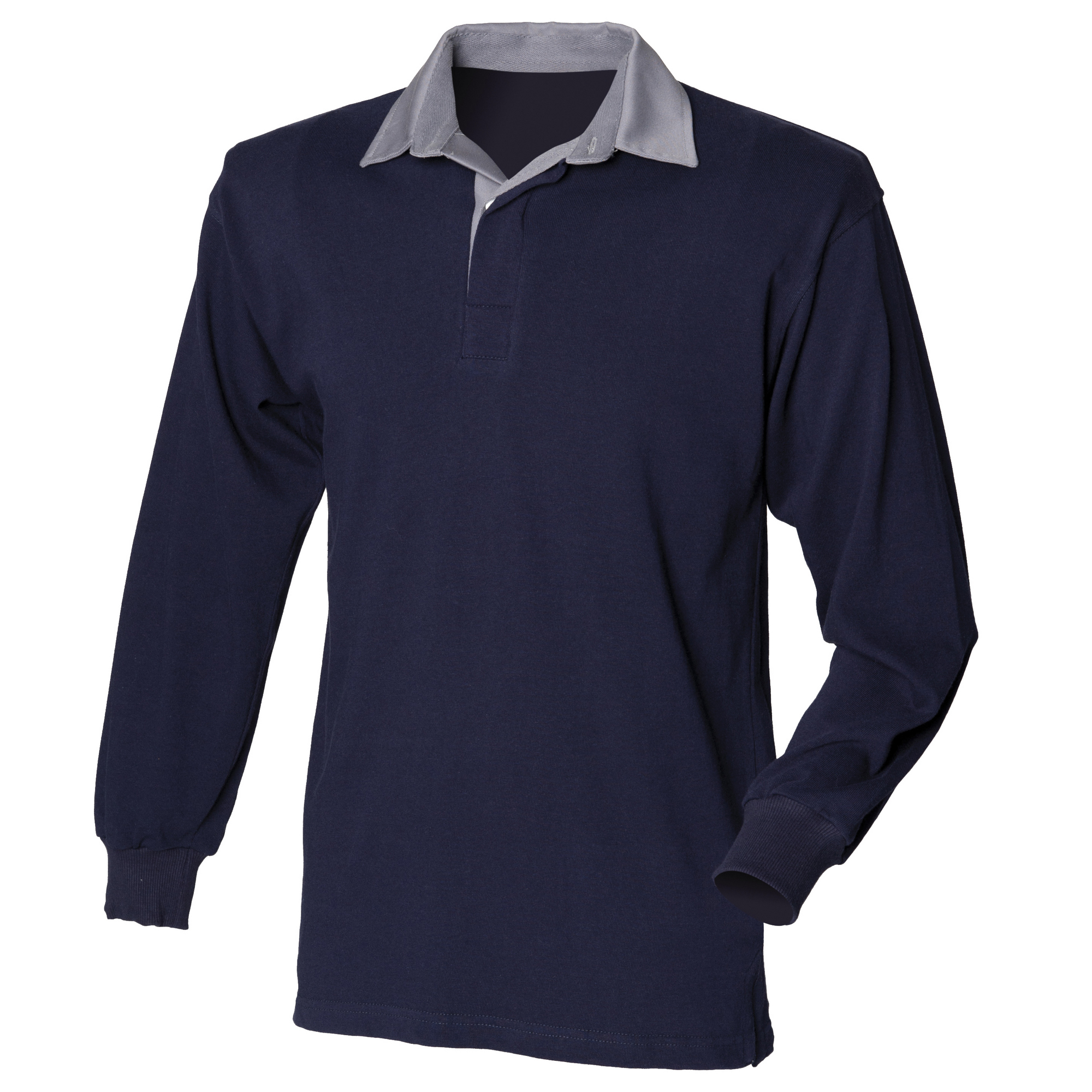 Front Row Mens Long Sleeve Sports Rugby Shirt (L) (Navy/Slate collar)