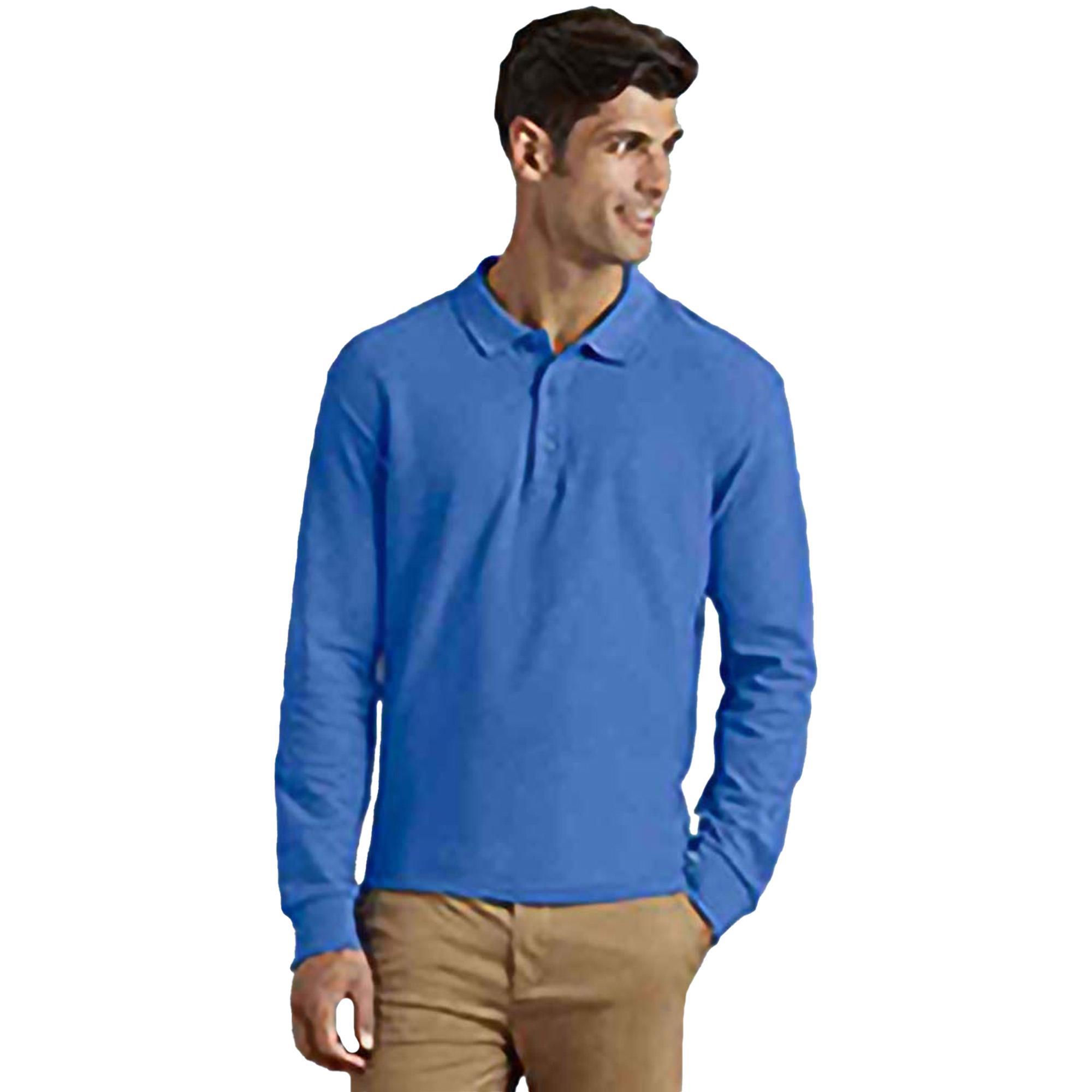 Gildan Mens Long Sleeve Premium Cotton Double Pique Polo Shirt White Xl Utrw4740 36