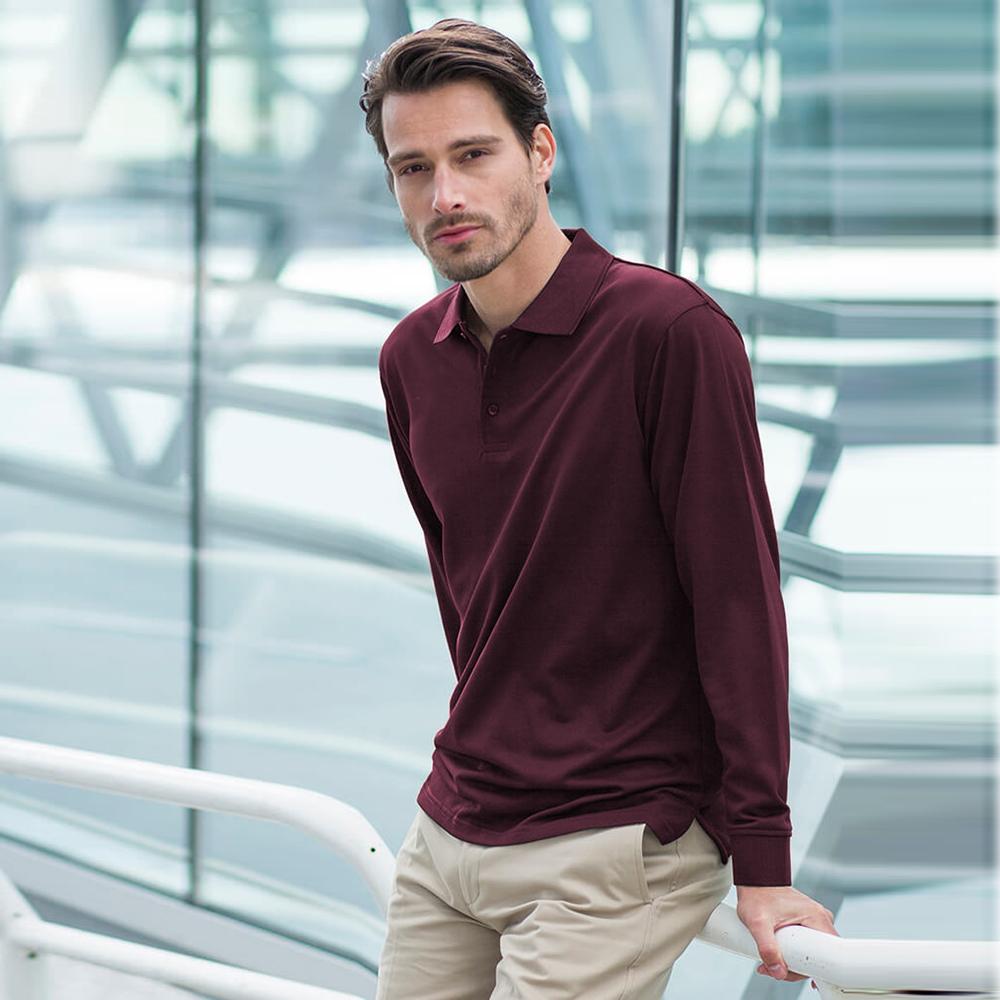 Henbury Mens Coolplus Moisture Wicking Long Sleeve Polo Shirt (XS) (Charcoal Grey)