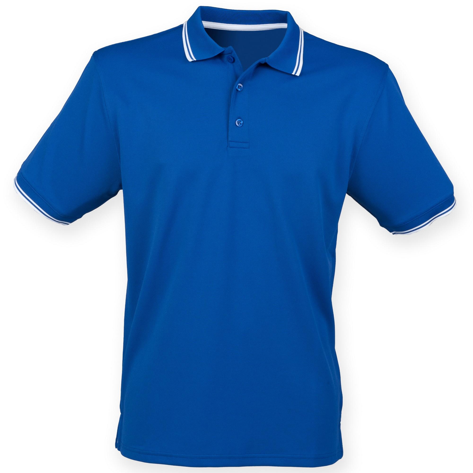 Henbury Mens Coolplus Moisture Wicking Short Sleeve Polo Shirt (3XL) (Royal/White)