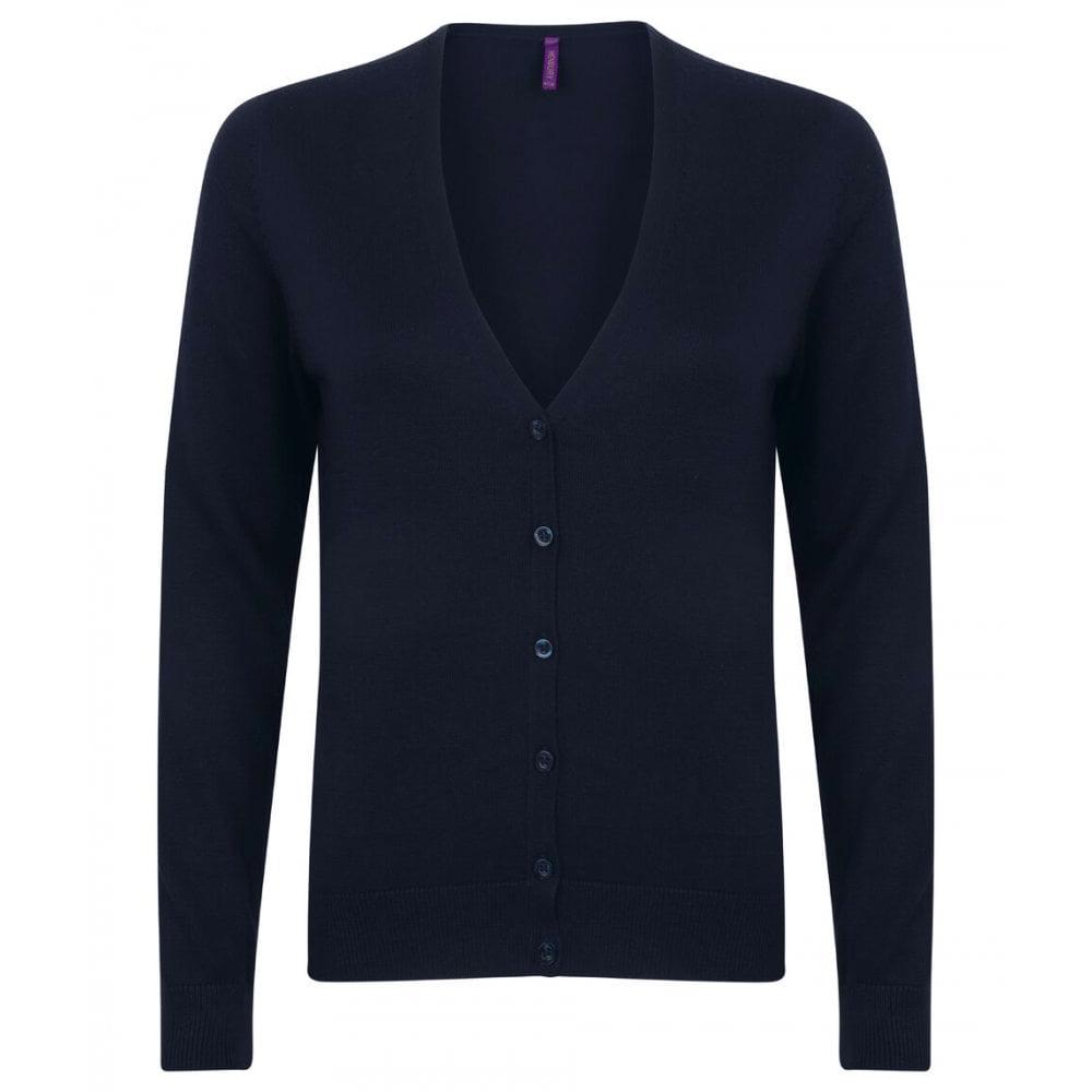 Henbury Womens/Ladies V-Neck Button Up Cardigan (3XL) (Navy)