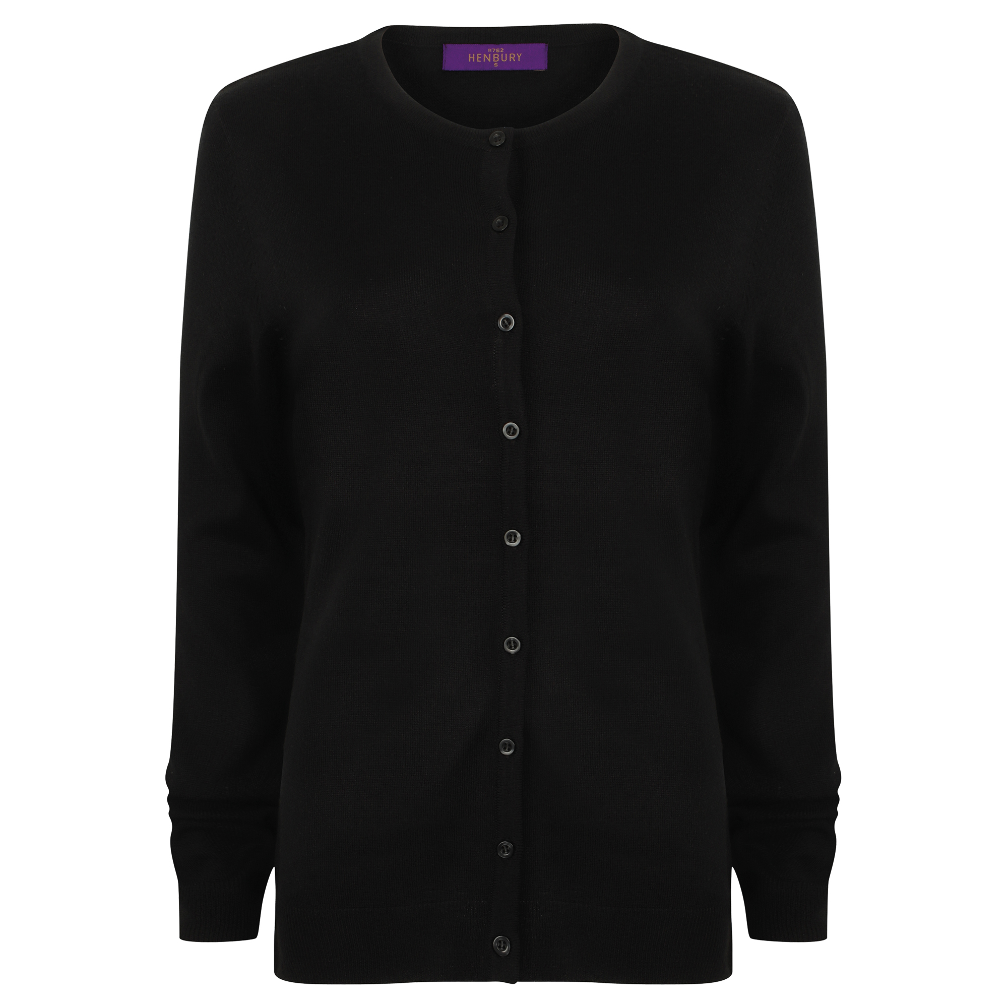 Henbury Womens/Ladies V-Neck Cashmere Touch Button Up Cardigan (2XL) (Black)