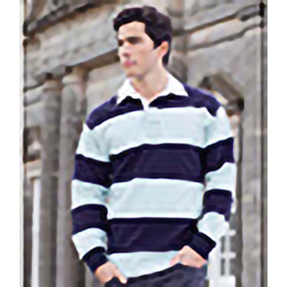 miniature 8 - Front Row - Polo de rugby rayé à manches longues 100% coton - Homme (RW476)